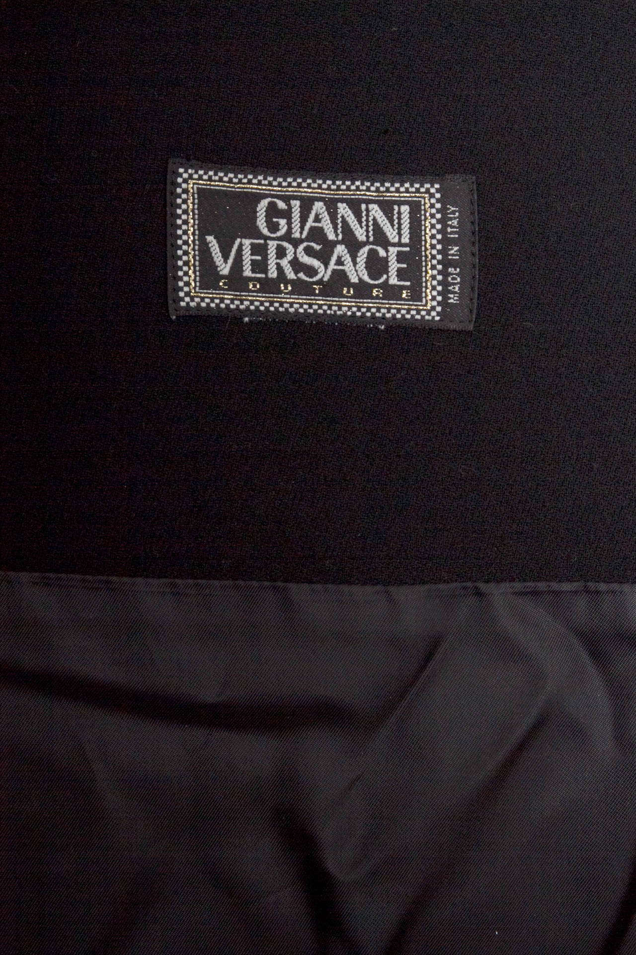 1980s Gianni Versace Couture Wool Little Black Dress For Sale 4