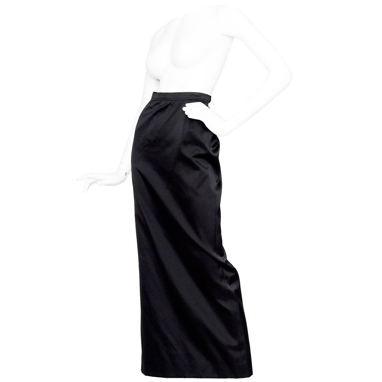 1990s Yves Saint Laurent Black Silk Satin Evening Skirt