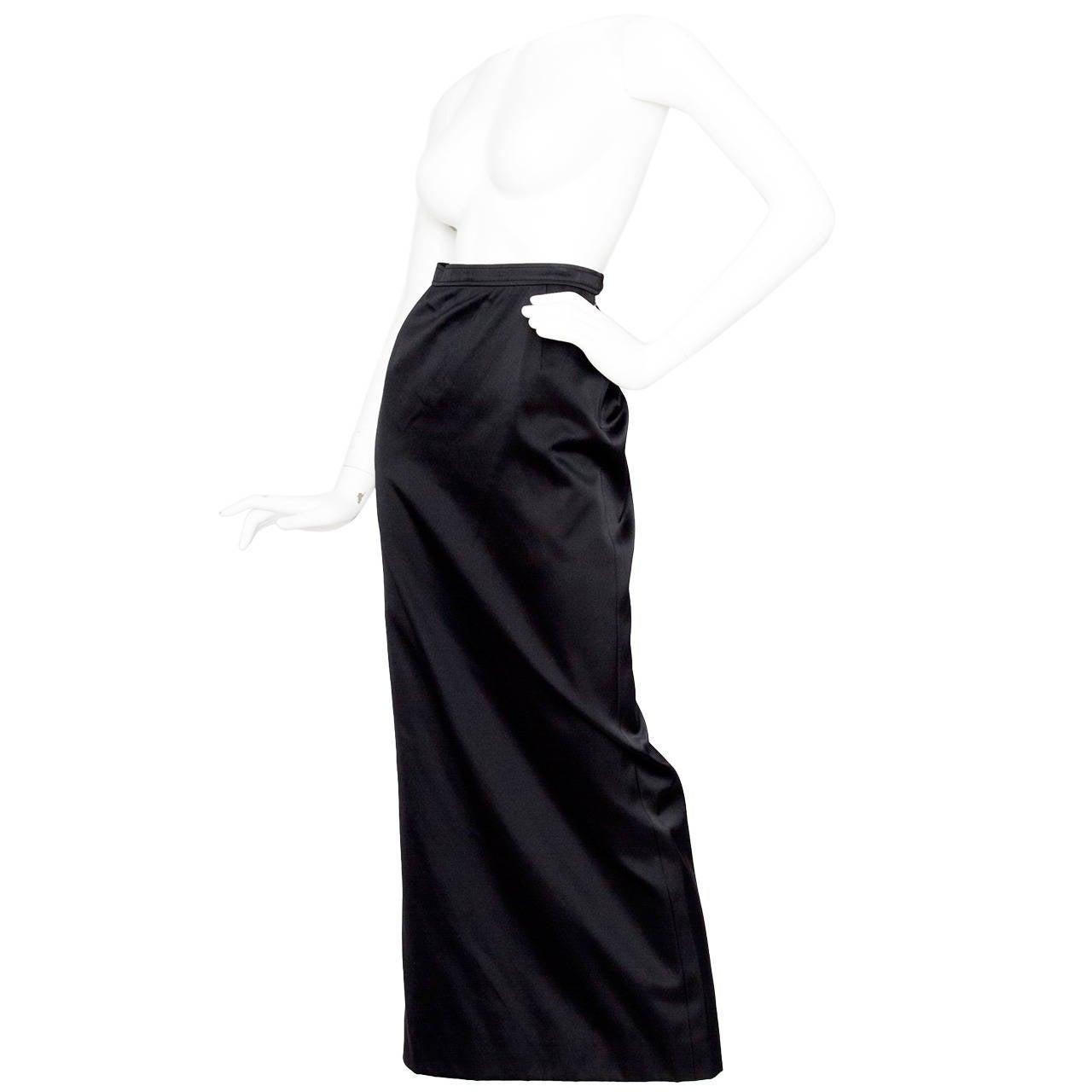1990s Yves Saint Laurent Black Silk Satin Evening Skirt For Sale