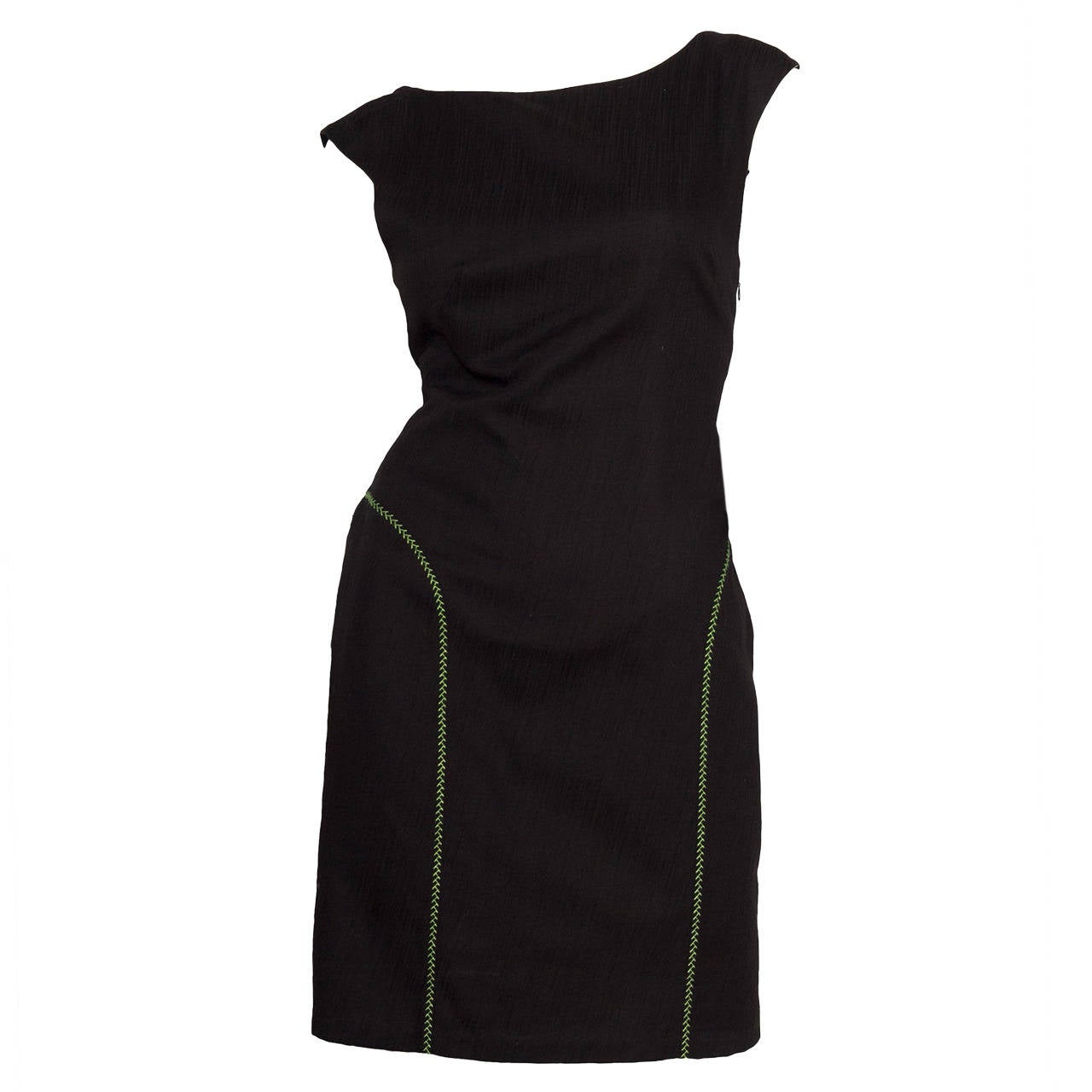 1980s Gianni Versace Couture Black Cotton Dress W. Green Topstitching