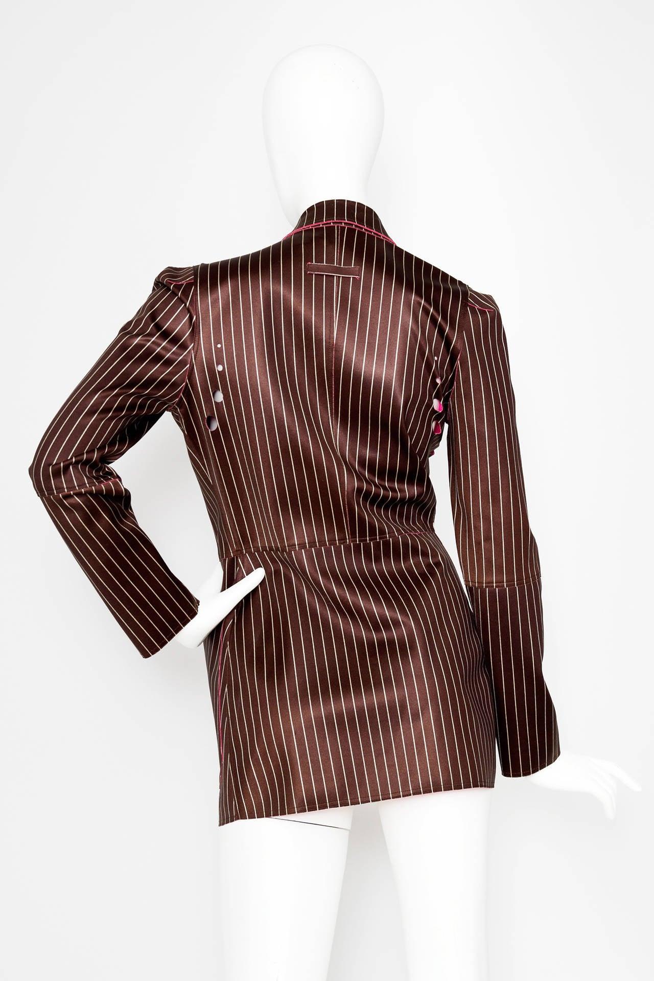 Brown 1990s Jean Paul Gaultier Neoprene Pinstripe Blazer Jacket For Sale