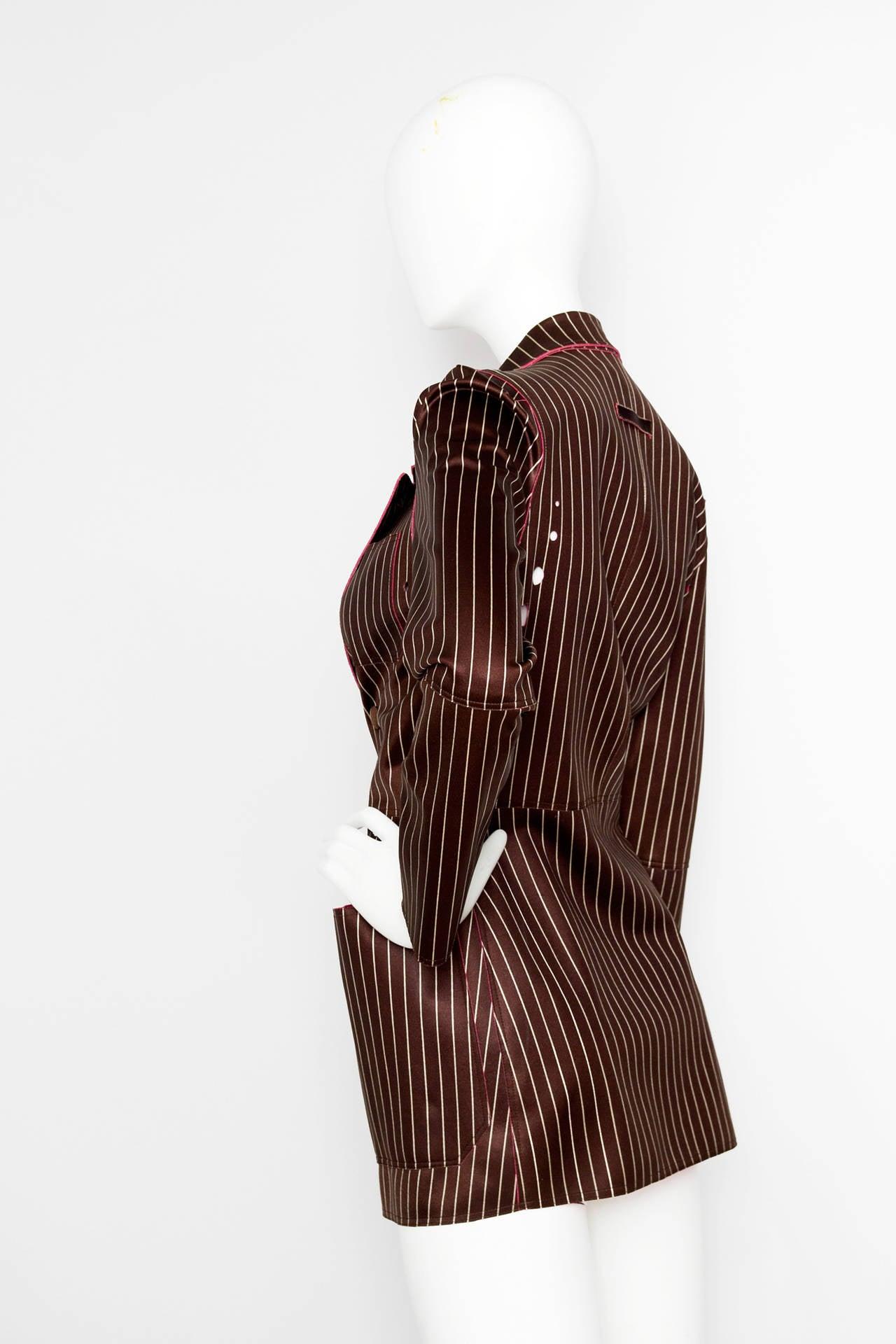 1990s Jean Paul Gaultier Neoprene Pinstripe Blazer Jacket 2