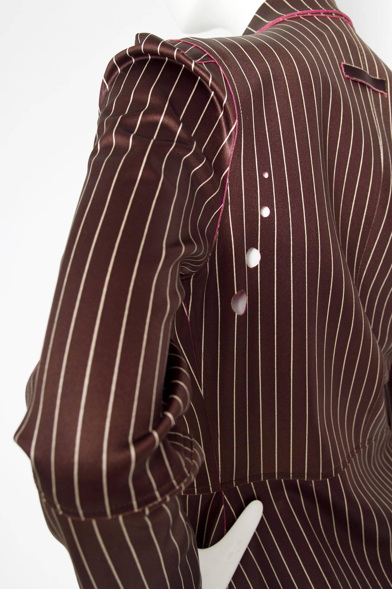 1990s Jean Paul Gaultier Neoprene Pinstripe Blazer Jacket In Excellent Condition For Sale In Copenhagen, DK