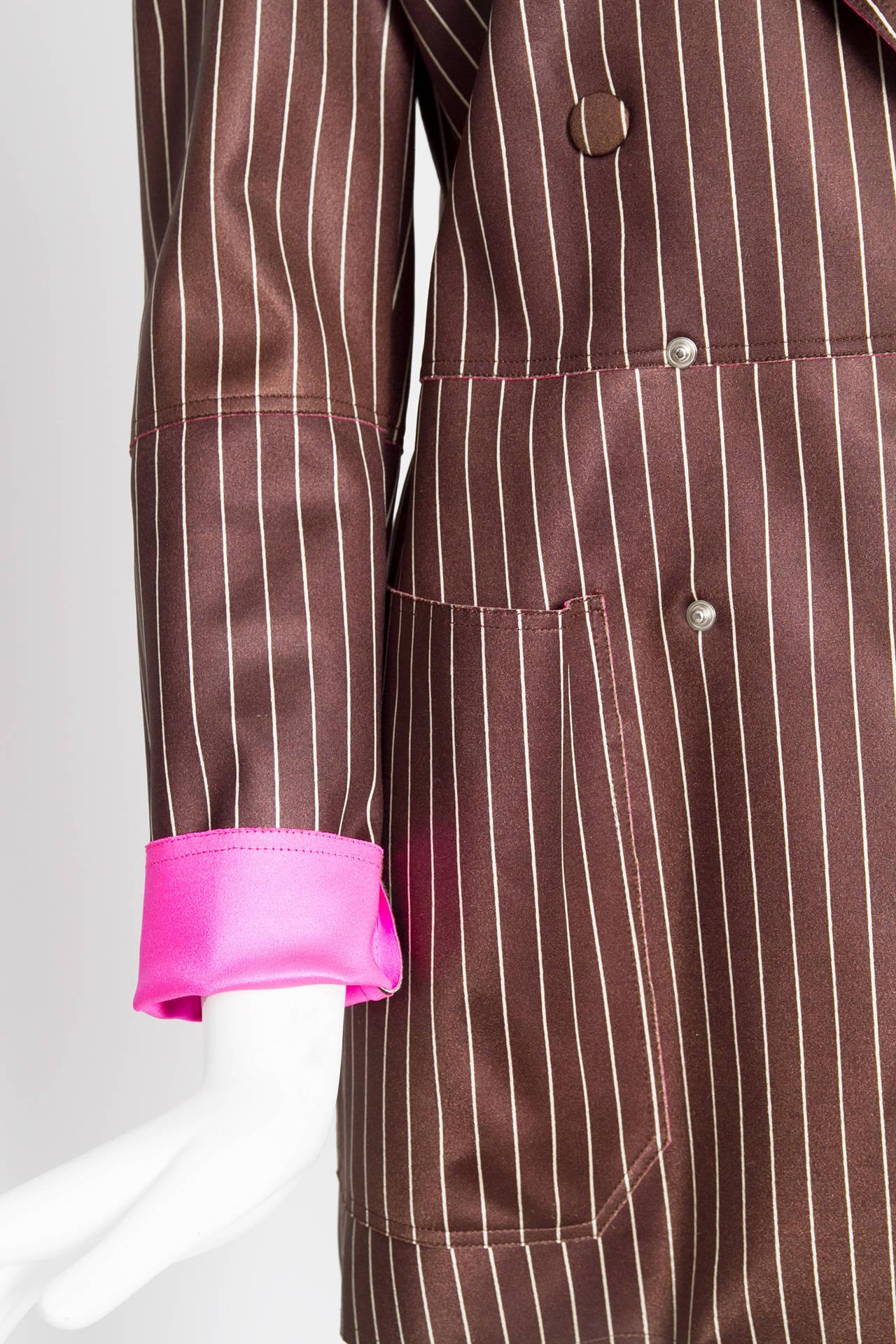 Women's 1990s Jean Paul Gaultier Neoprene Pinstripe Blazer Jacket For Sale