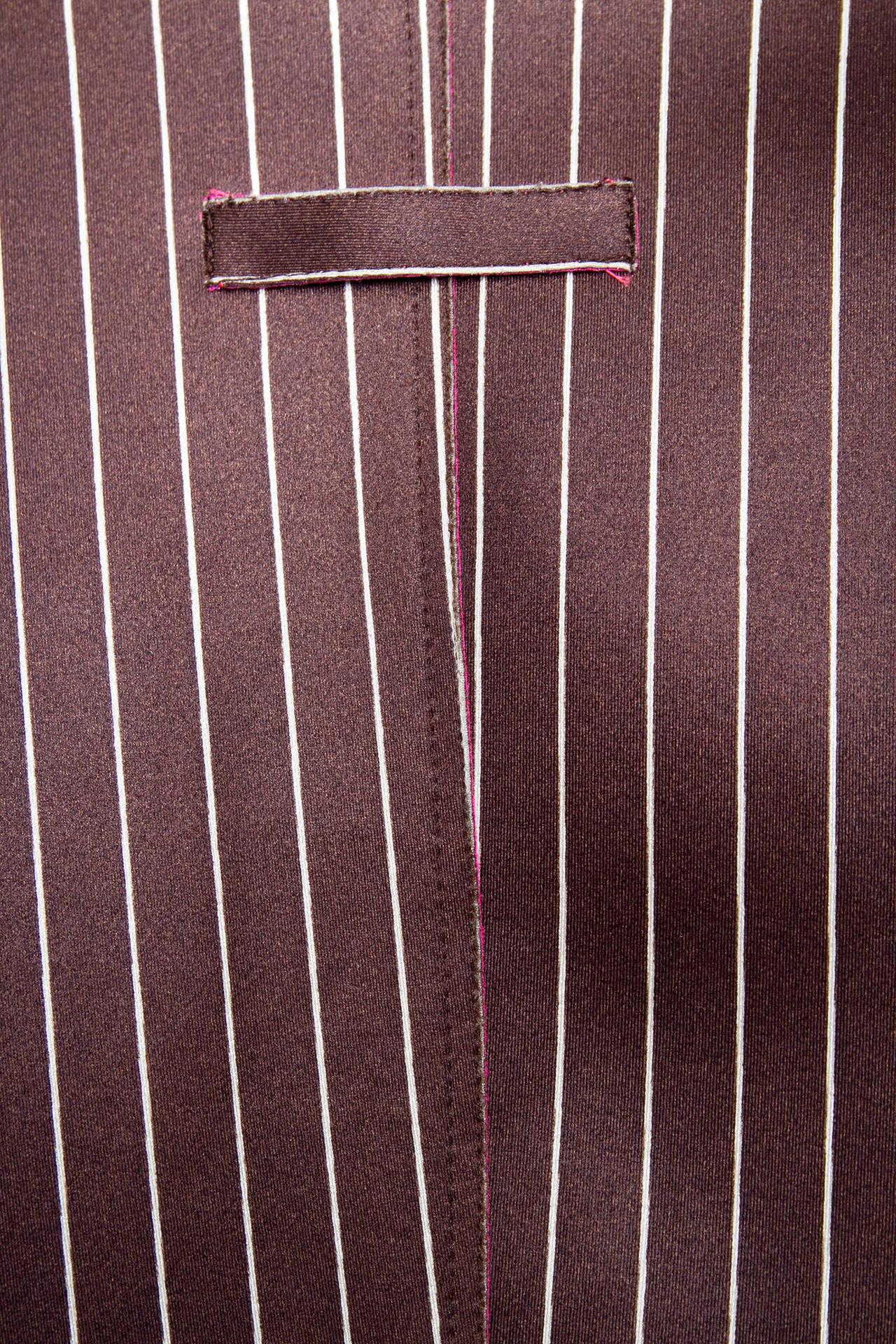 1990s Jean Paul Gaultier Neoprene Pinstripe Blazer Jacket For Sale 1