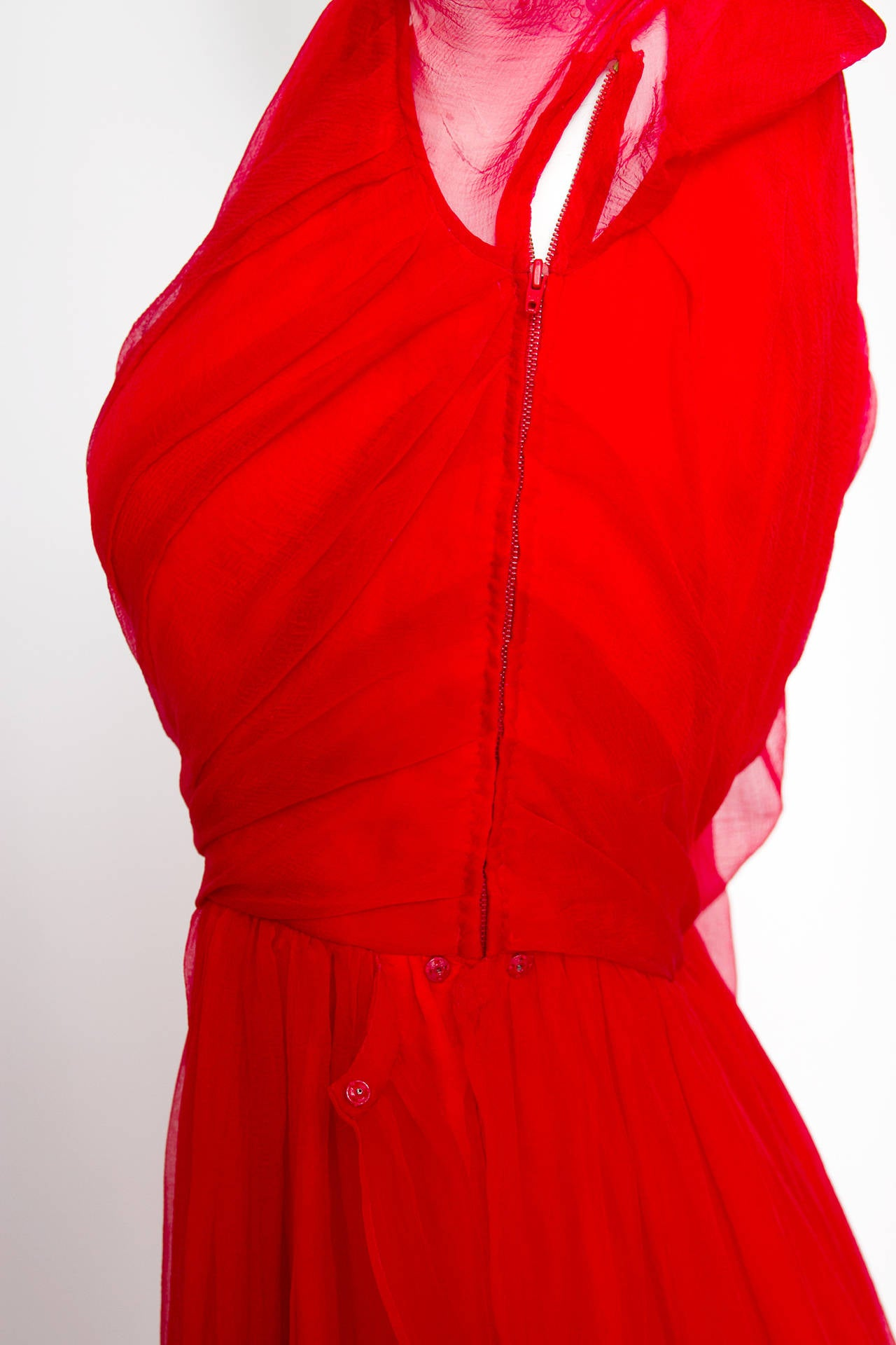 A Rare 1980s Yves Saint Laurent Haute Couture Silk Chiffon Dress For Sale 2