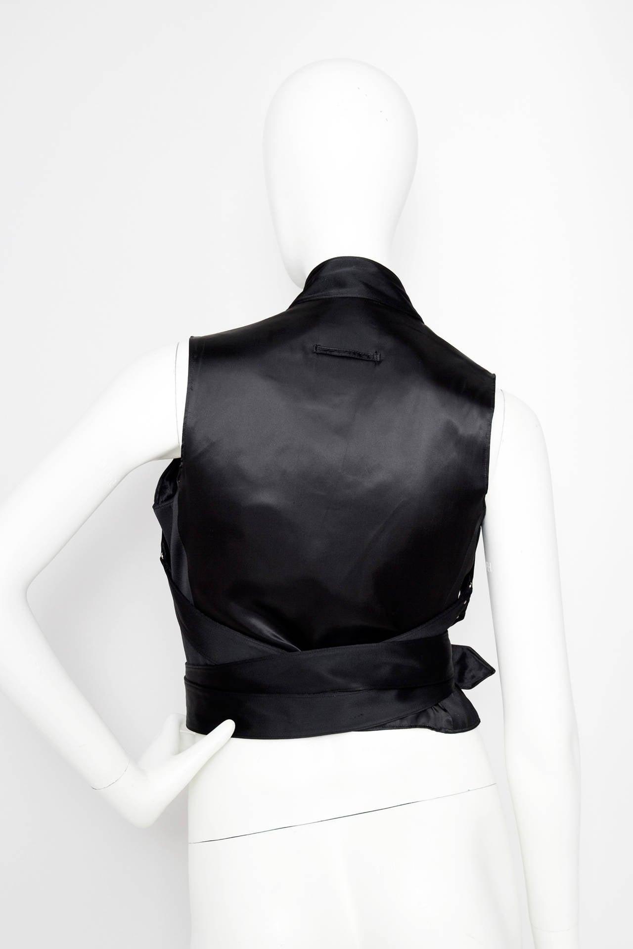 1990s Jean Paul Gaultier Black Bondage Waistcoat 3
