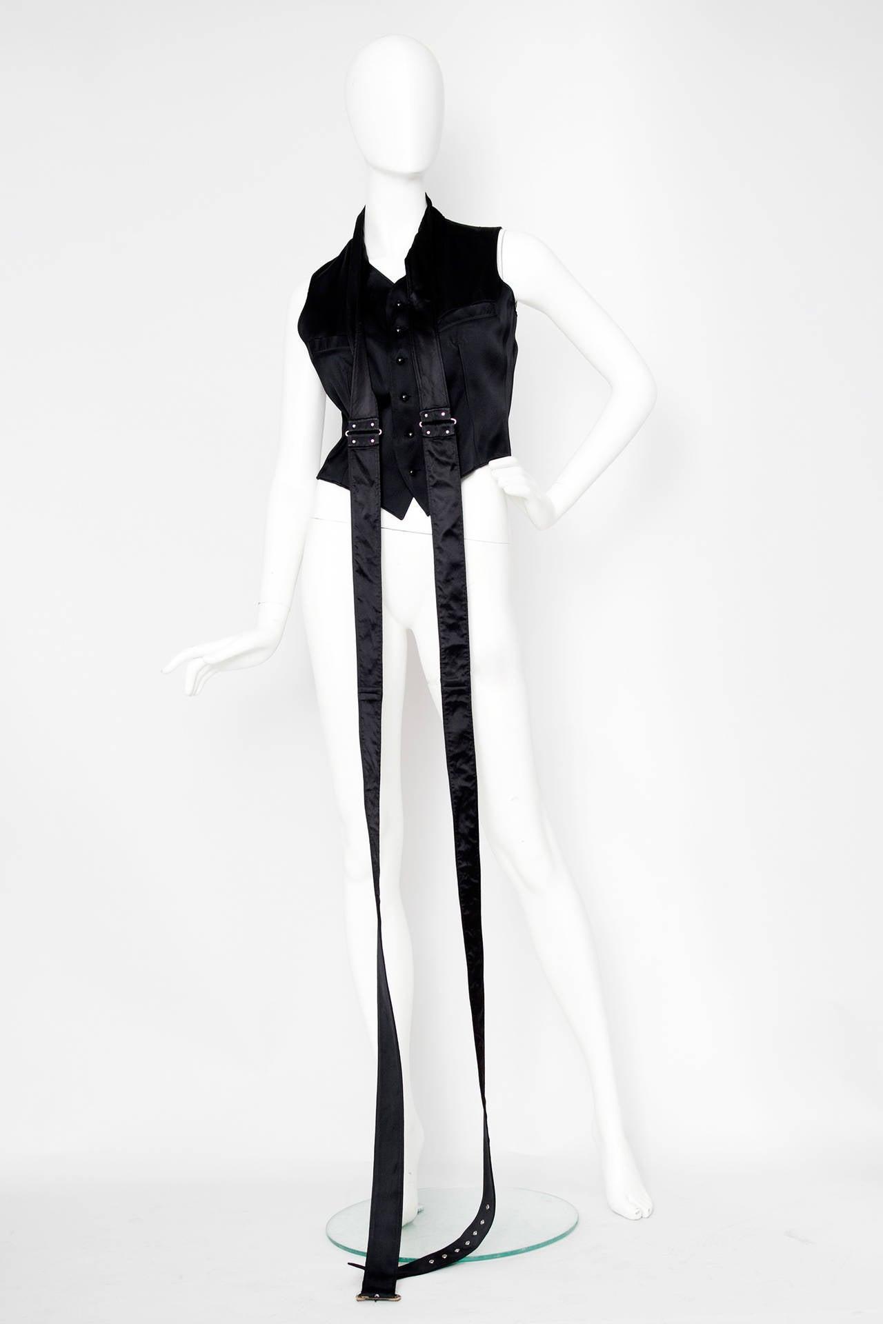 1990s Jean Paul Gaultier Black Bondage Waistcoat 6