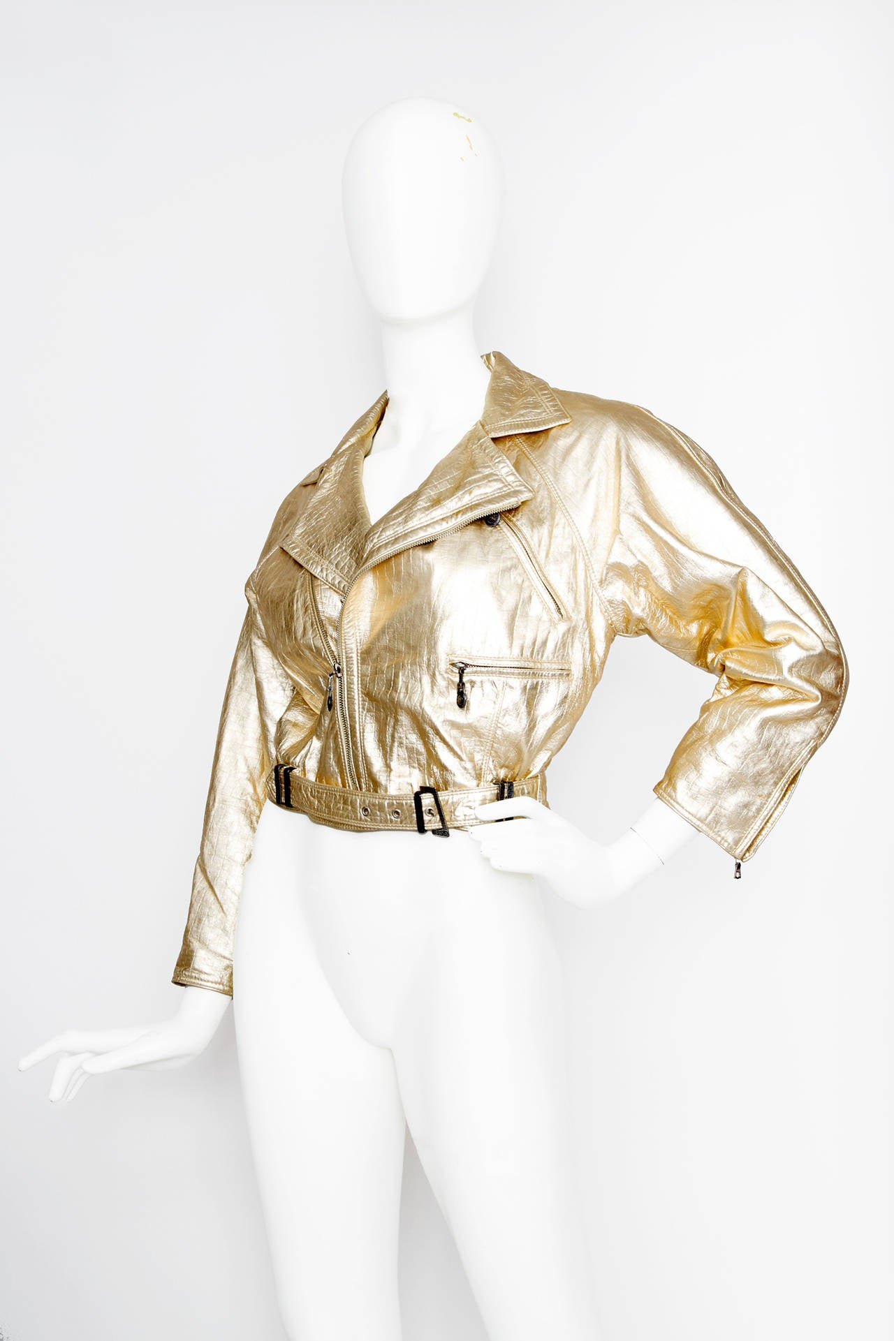 1980s Gold Gianni Versace Leather Biker Jacket In Excellent Condition For Sale In Copenhagen, DK