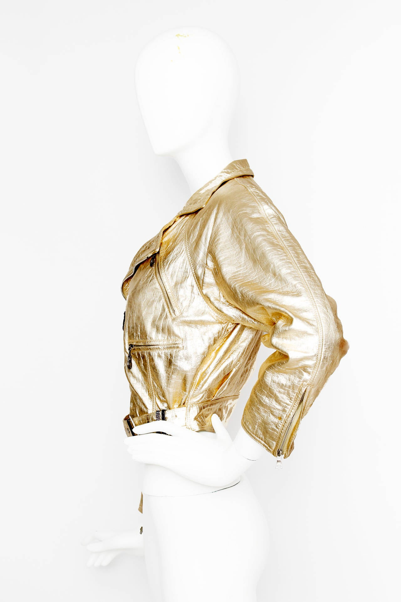 Women's 1980s Gold Gianni Versace Leather Biker Jacket For Sale