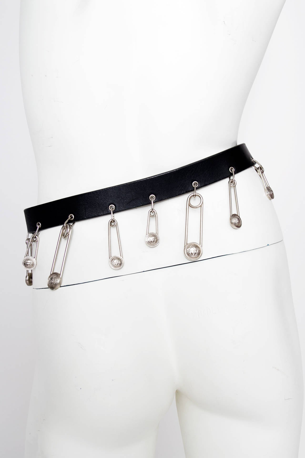 1990s Gianni Versace Black Leather Safety Pin Belt 5