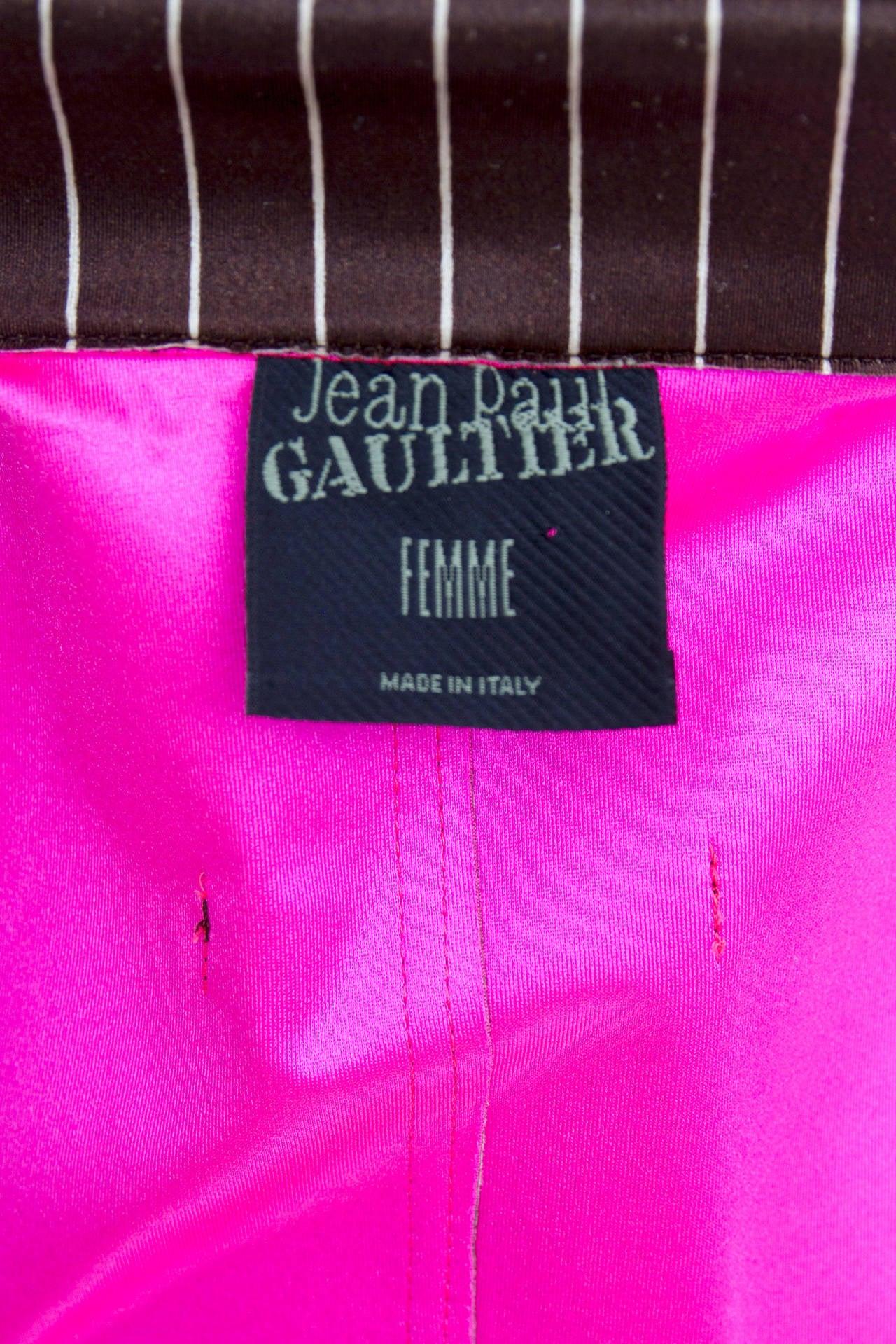 1990s Jean Paul Gaultier Neoprene Pinstripe Blazer Jacket For Sale 2