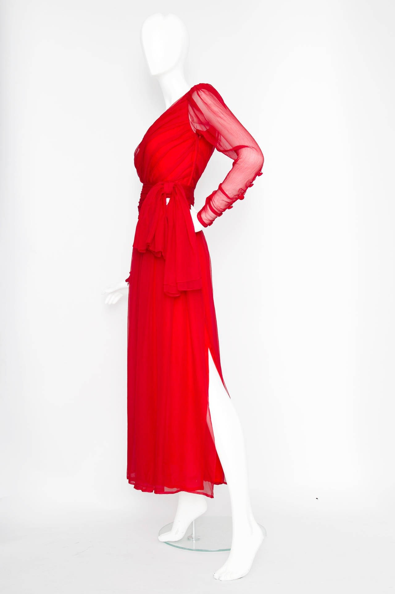 Red A Rare 1980s Yves Saint Laurent Haute Couture Silk Chiffon Dress For Sale
