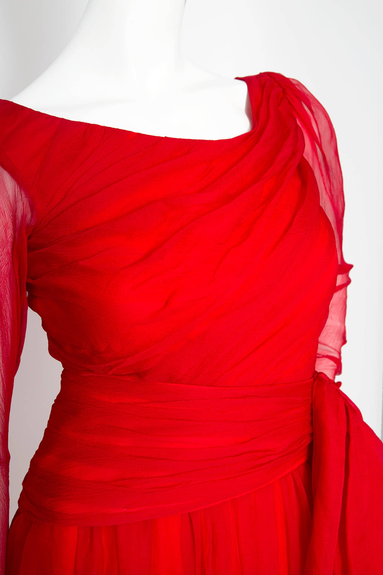 A Rare 1980s Yves Saint Laurent Haute Couture Silk Chiffon Dress For Sale 1