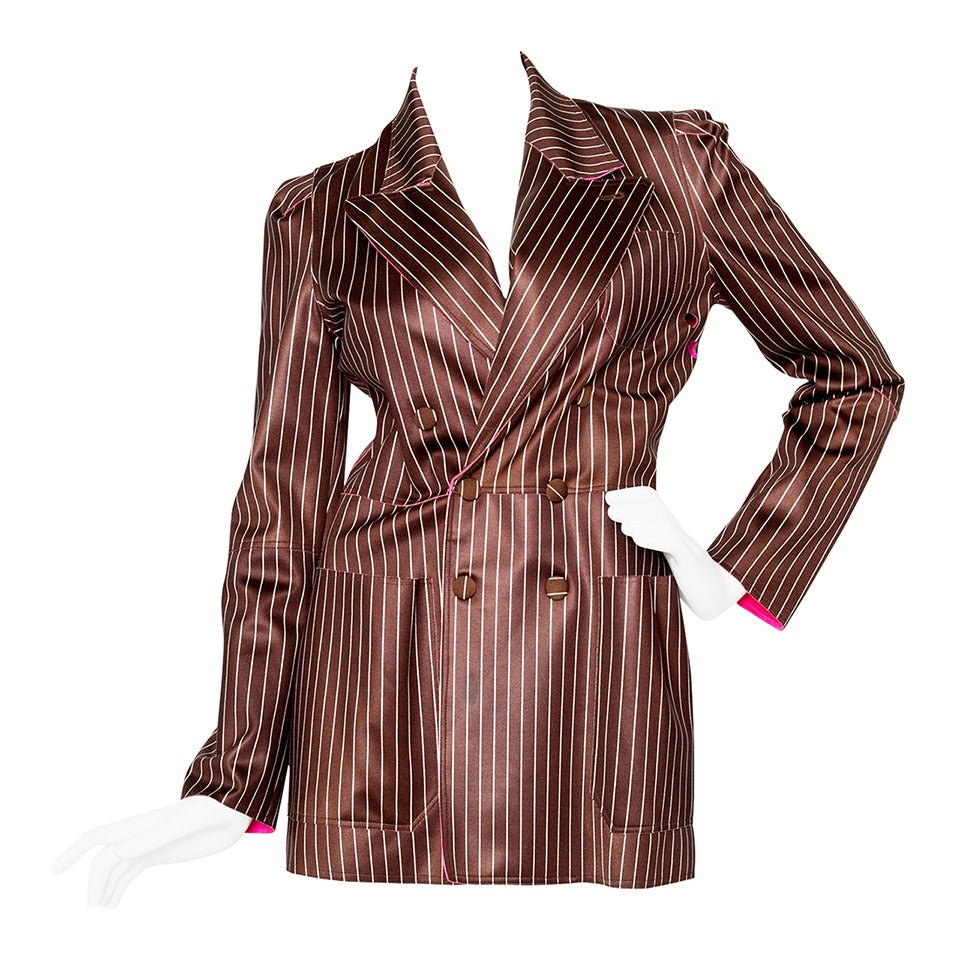 1990s Jean Paul Gaultier Neoprene Pinstripe Blazer Jacket