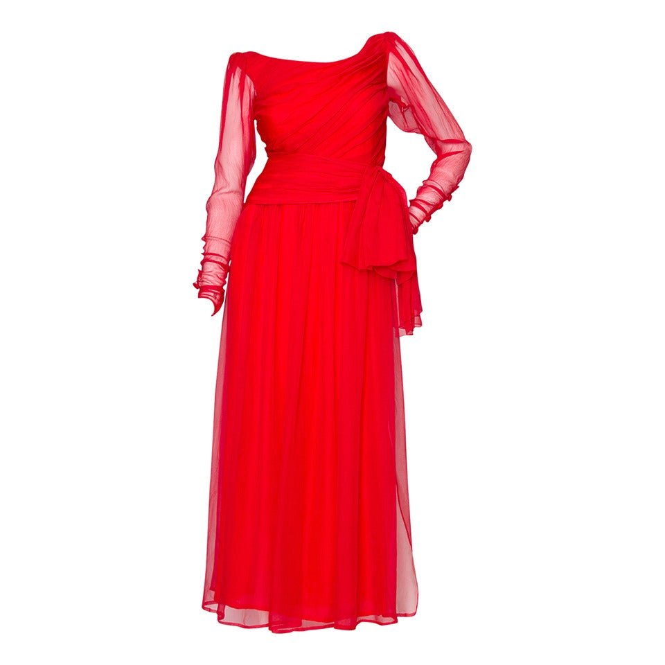 A Rare 1980s Yves Saint Laurent Haute Couture Silk Chiffon Dress For Sale