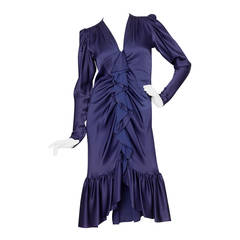 1980s Yves Saint Laurent Midnight Blue Silk Evening Dress