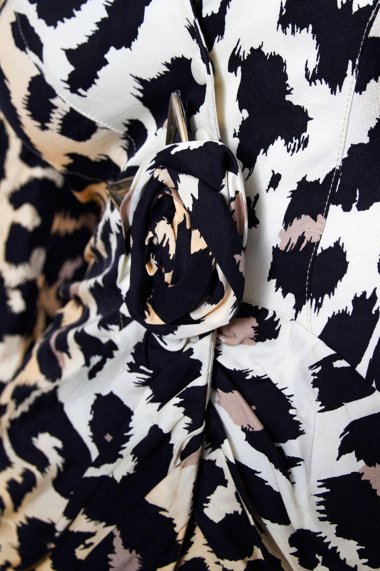 1980s Thierry Mugler Leopard Print Silk Jacket 5