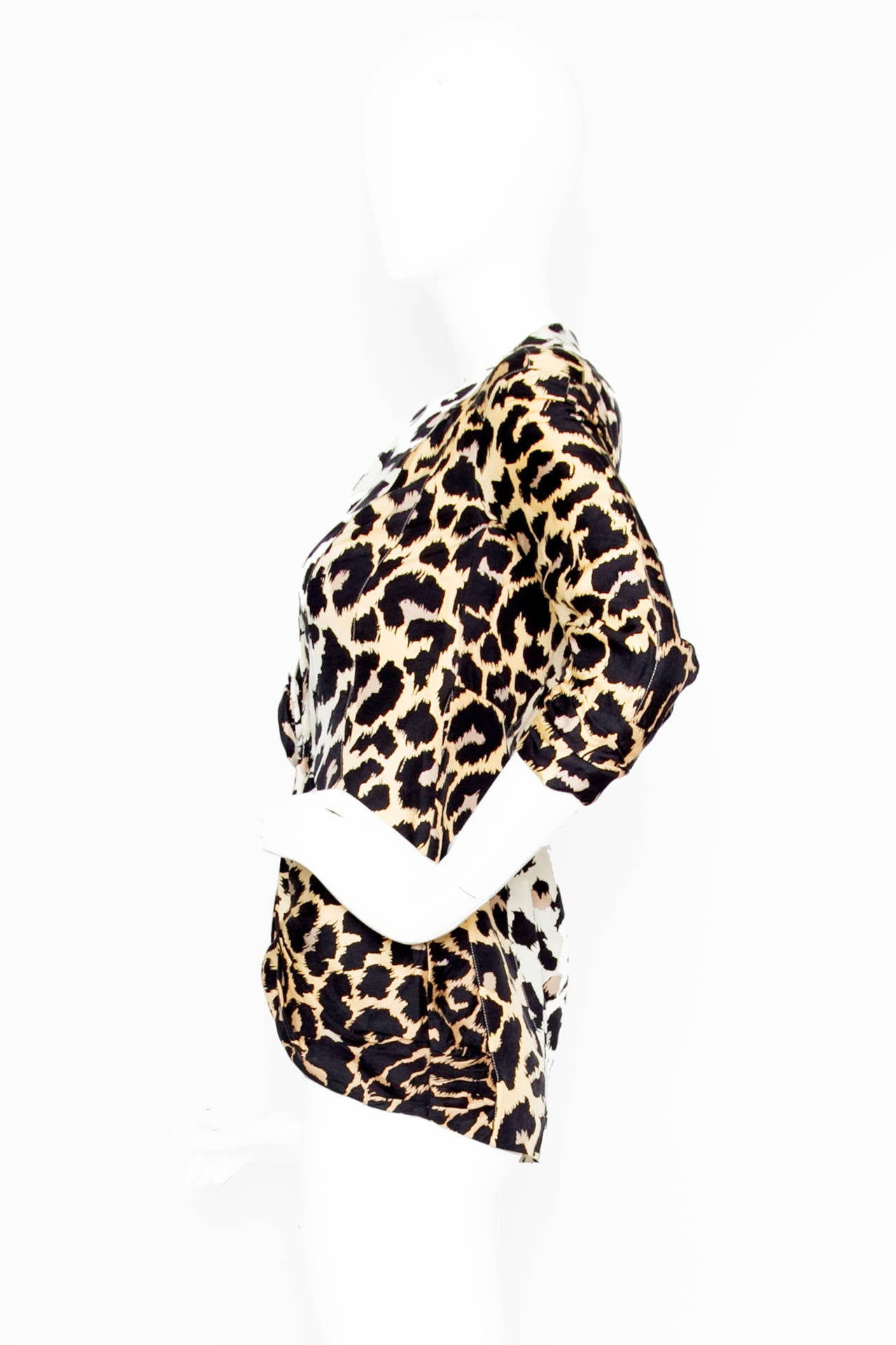 1980s Thierry Mugler Leopard Print Silk Jacket 2
