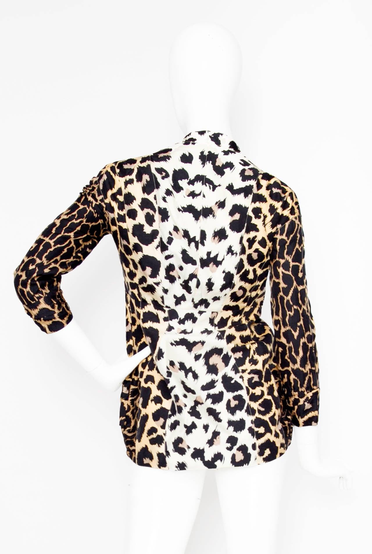 1980s Thierry Mugler Leopard Print Silk Jacket 3