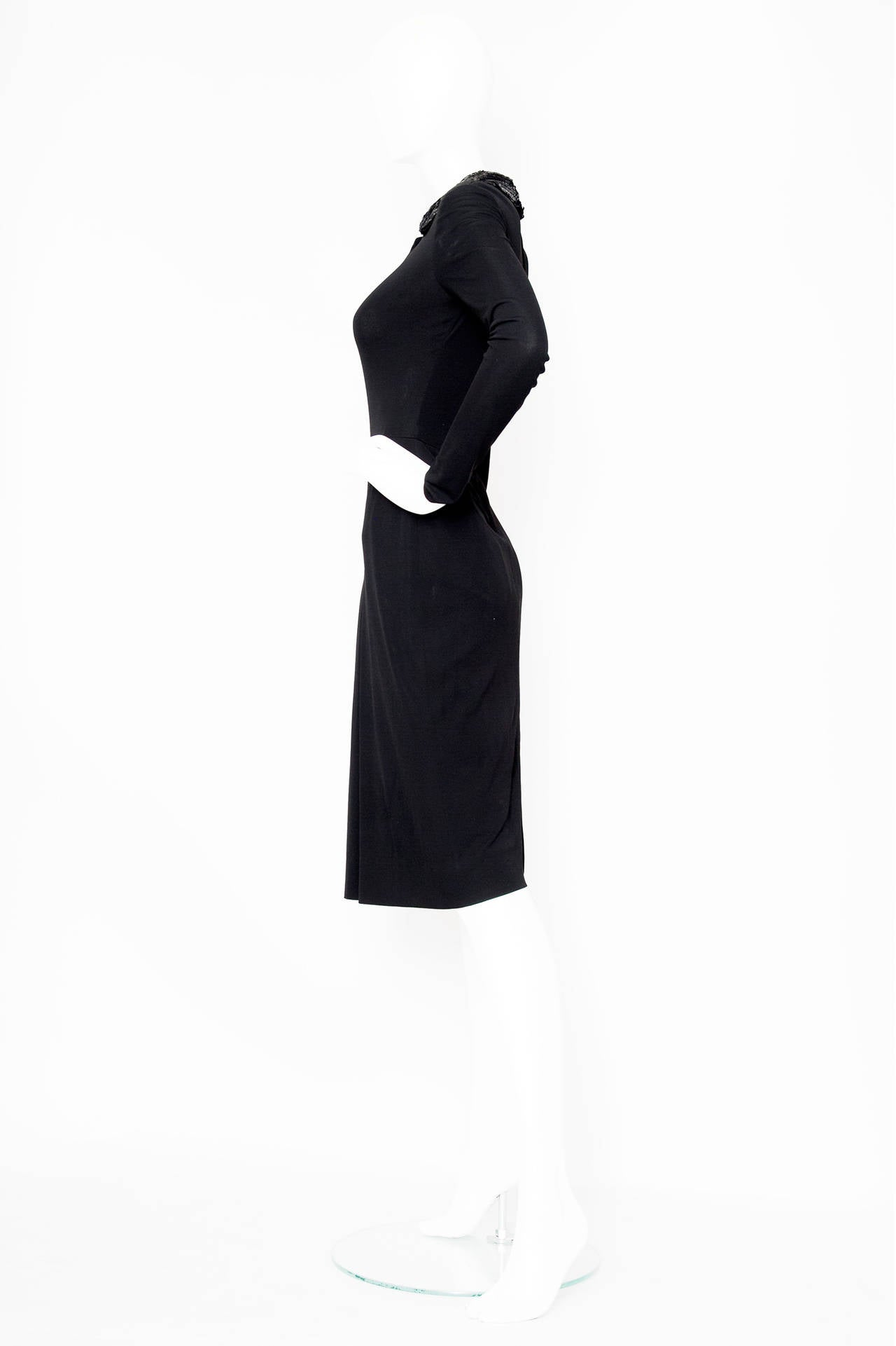 Black 1960s Miss Dior Silk Jersey Evening Dress For Sale