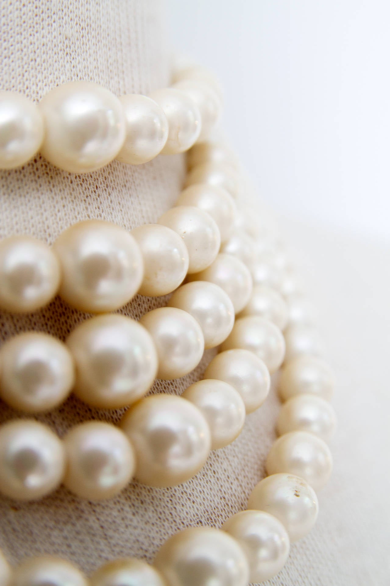1960s Christian Dior Pearl Five Strand Choker Necklace For Sale 1