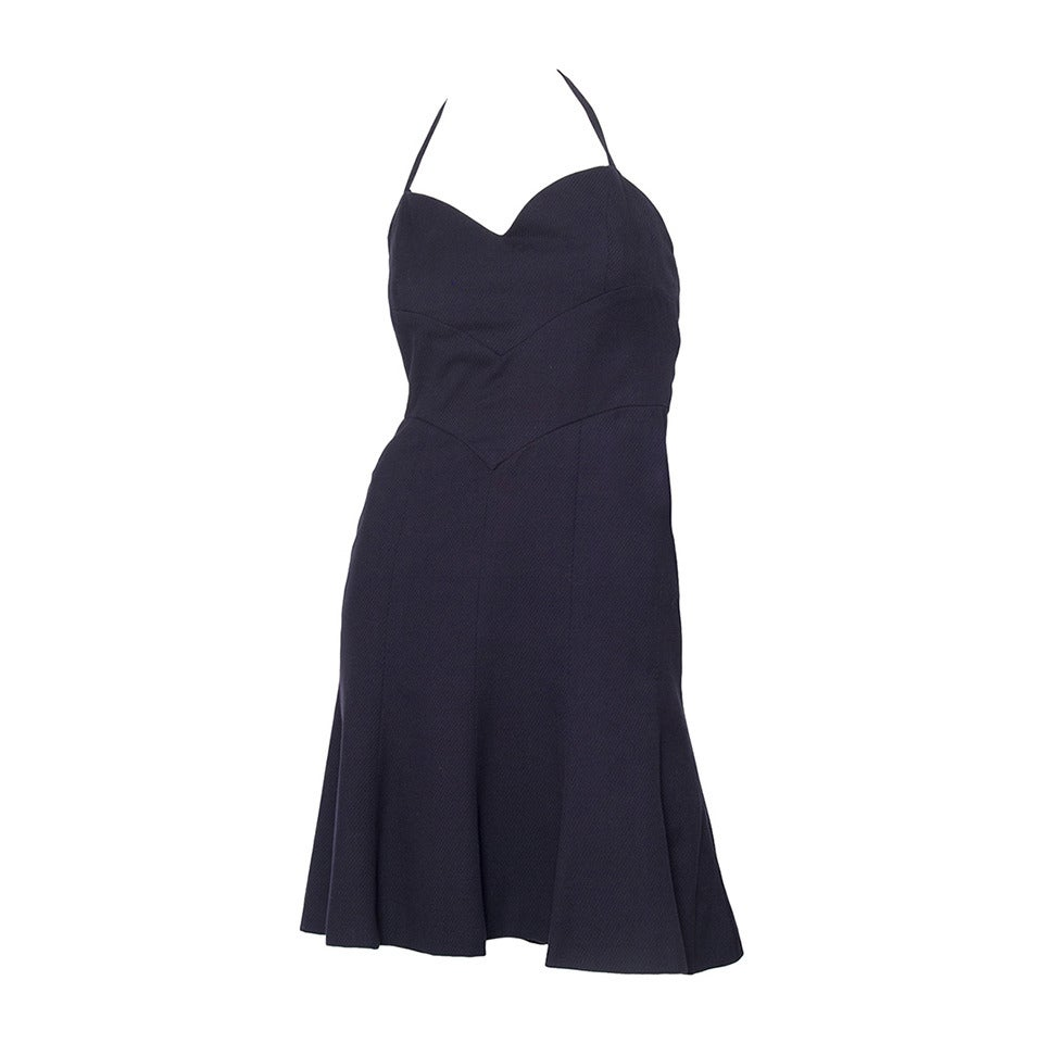1990s Chanel Navy Cotton Dress