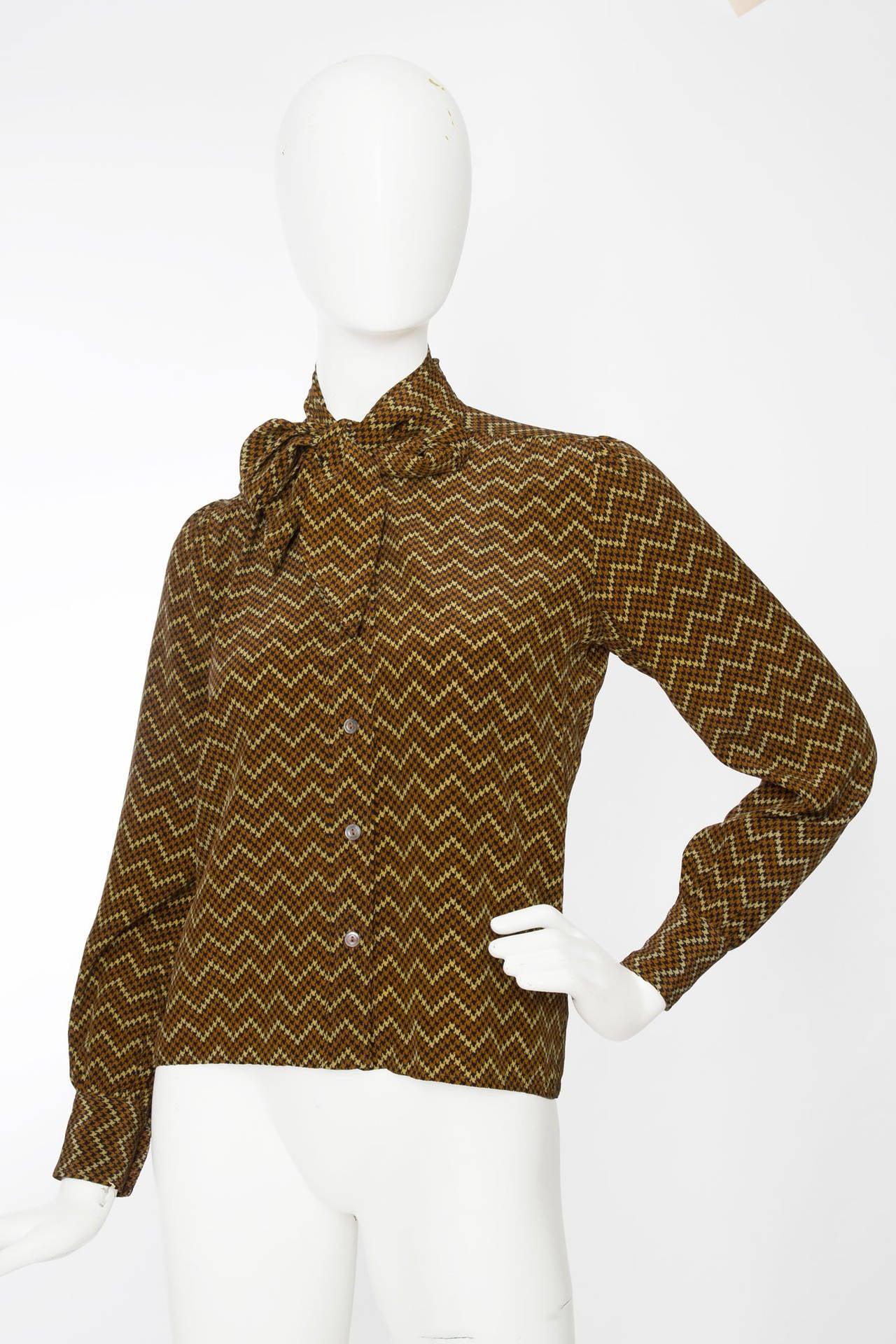 1970s yves saint laurent silk shirt at 1stdibs for Yves saint laurent logo shirt