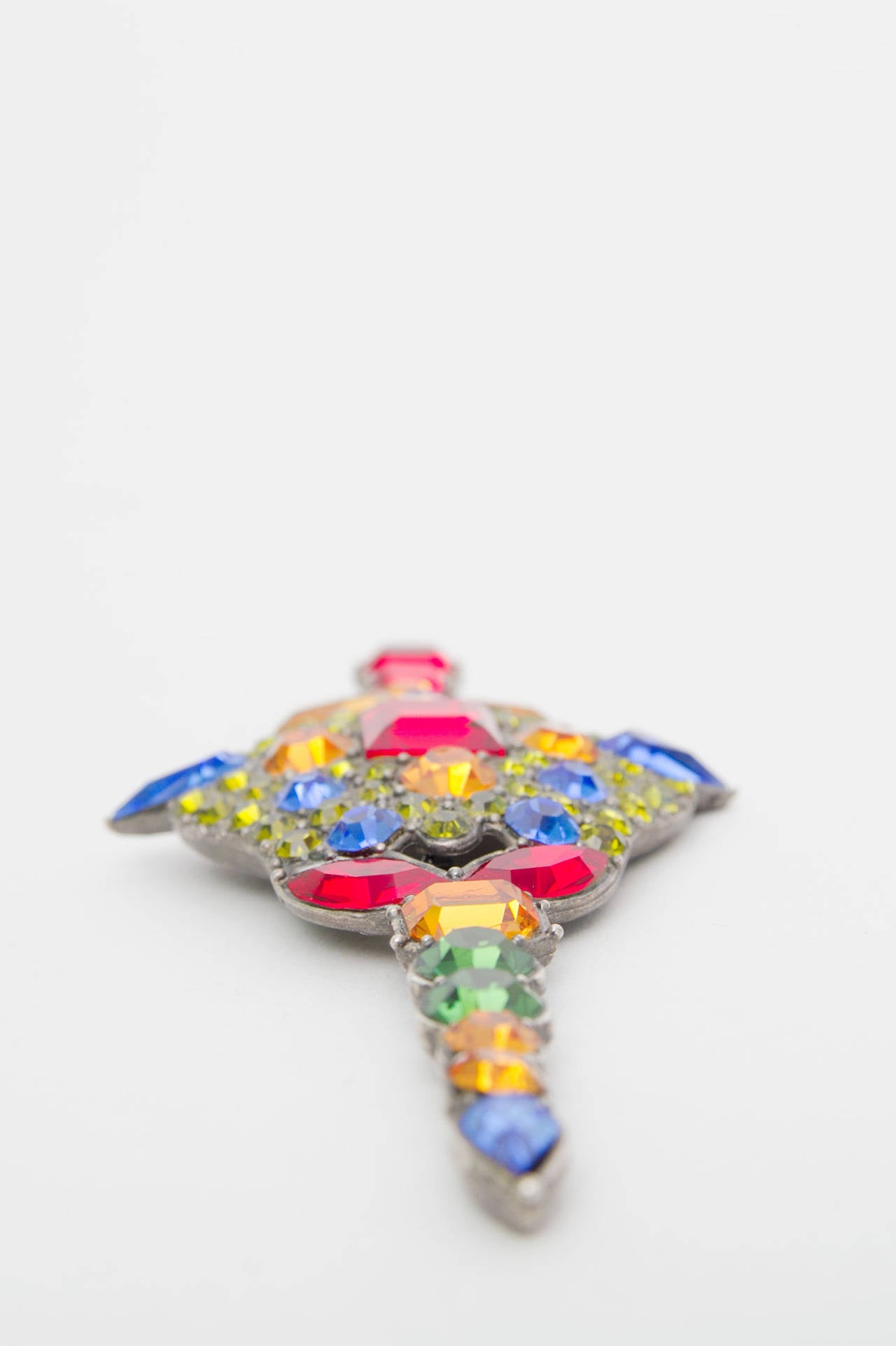 A Large 1970s Yves Saint Laurent Multi-coloured Rhinestone Brooch 5