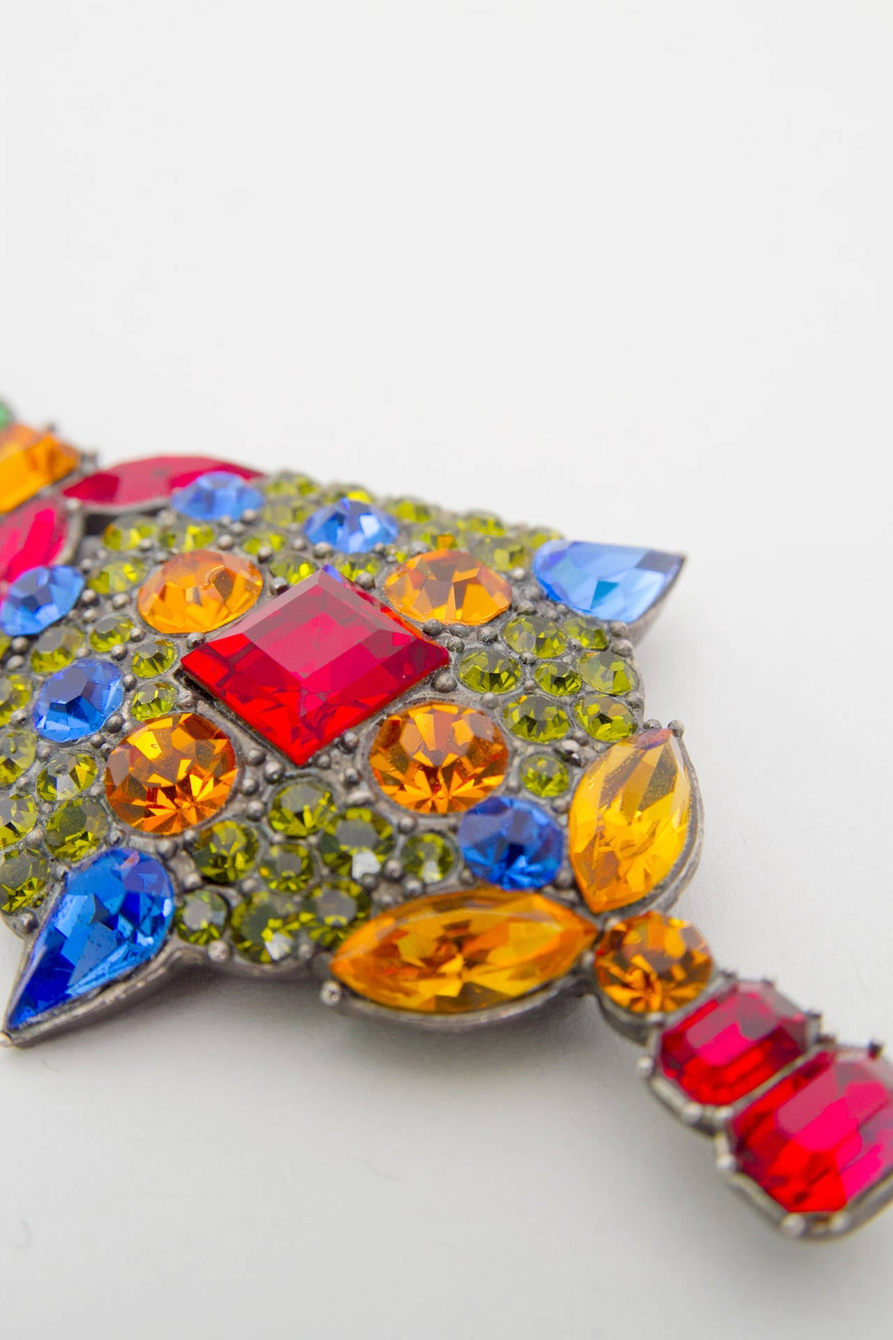 A Large 1970s Yves Saint Laurent Multi-coloured Rhinestone Brooch 6