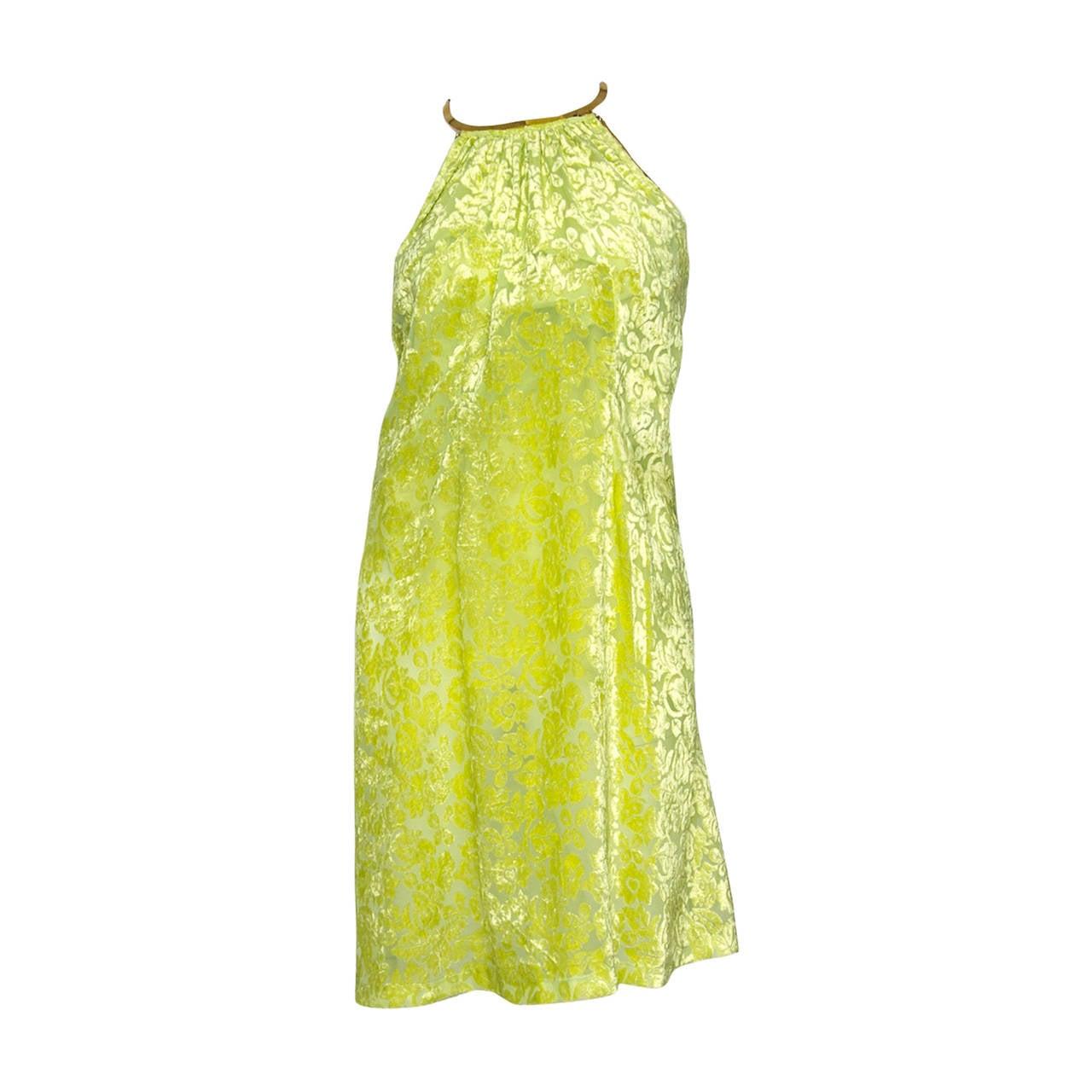 Stunning 1960s Green Burned Velvet Dress W Gold Hardware