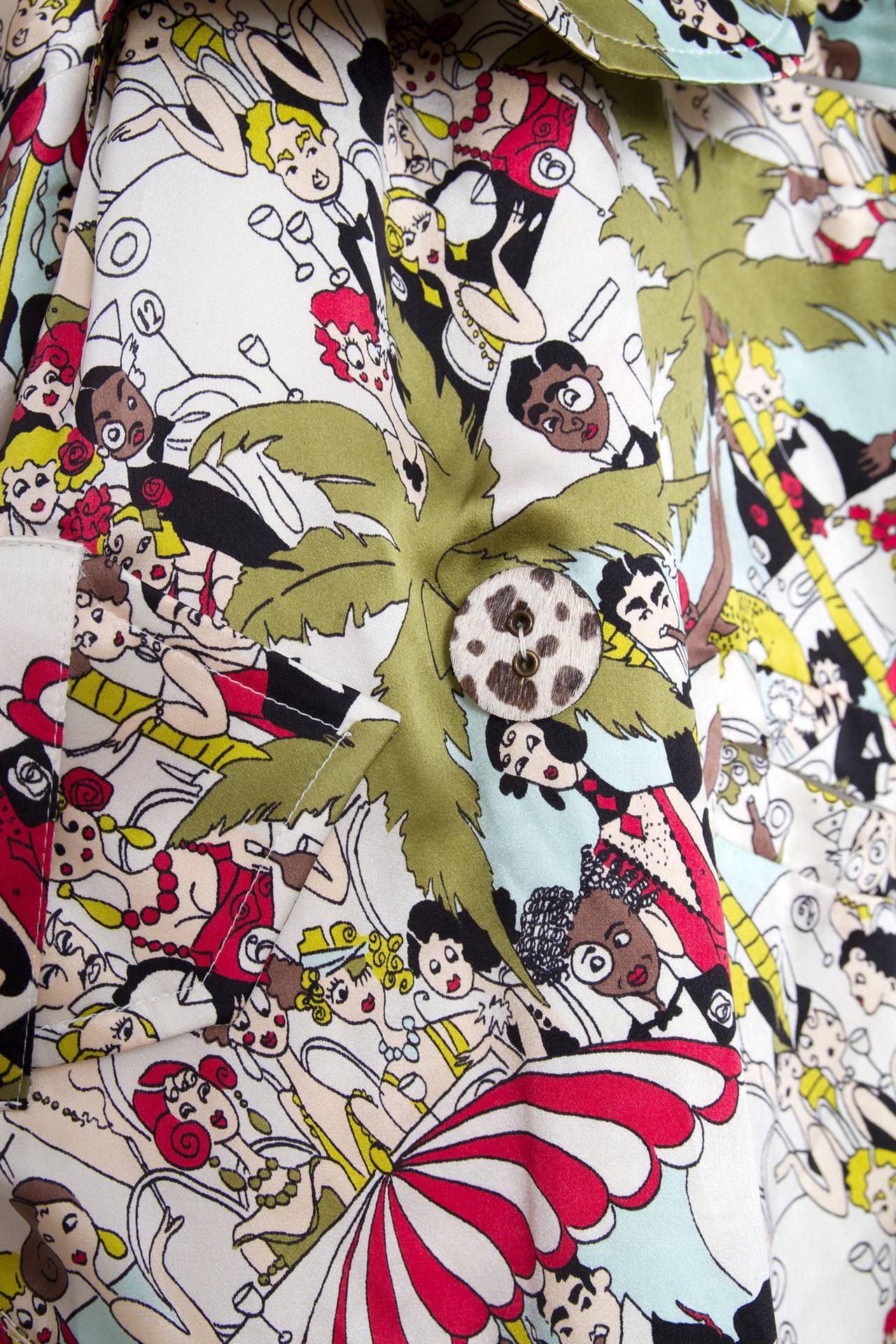 1990s John Galliano Silk Trench Coat W. Cartoon Print 7