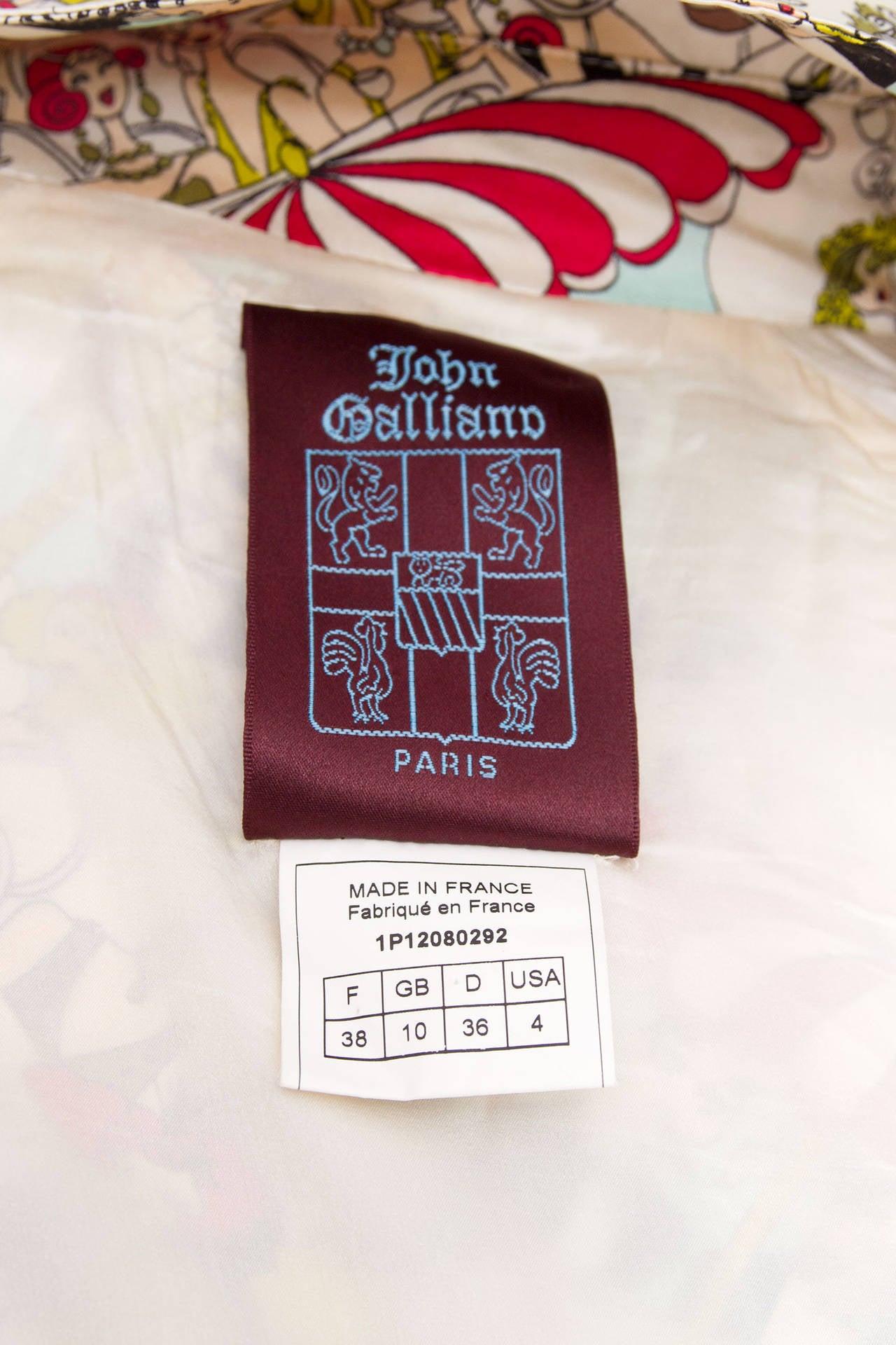 1990s John Galliano Silk Trench Coat W. Cartoon Print 9