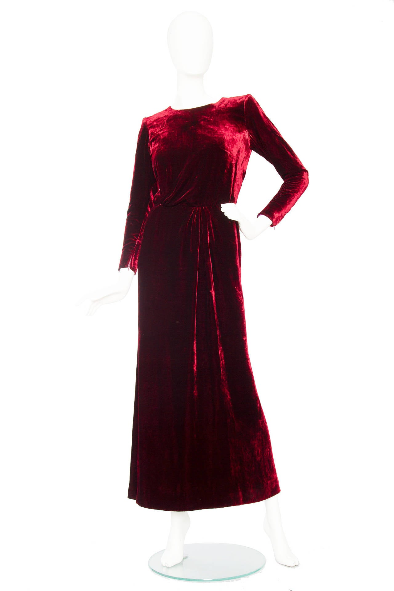 Stunnung Late 1970s Yves Saint Laurent Silk Velvet Haute Couture Dress 2