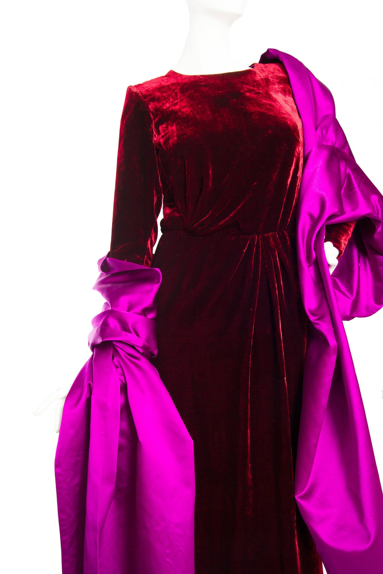Stunnung Late 1970s Yves Saint Laurent Silk Velvet Haute Couture Dress 5