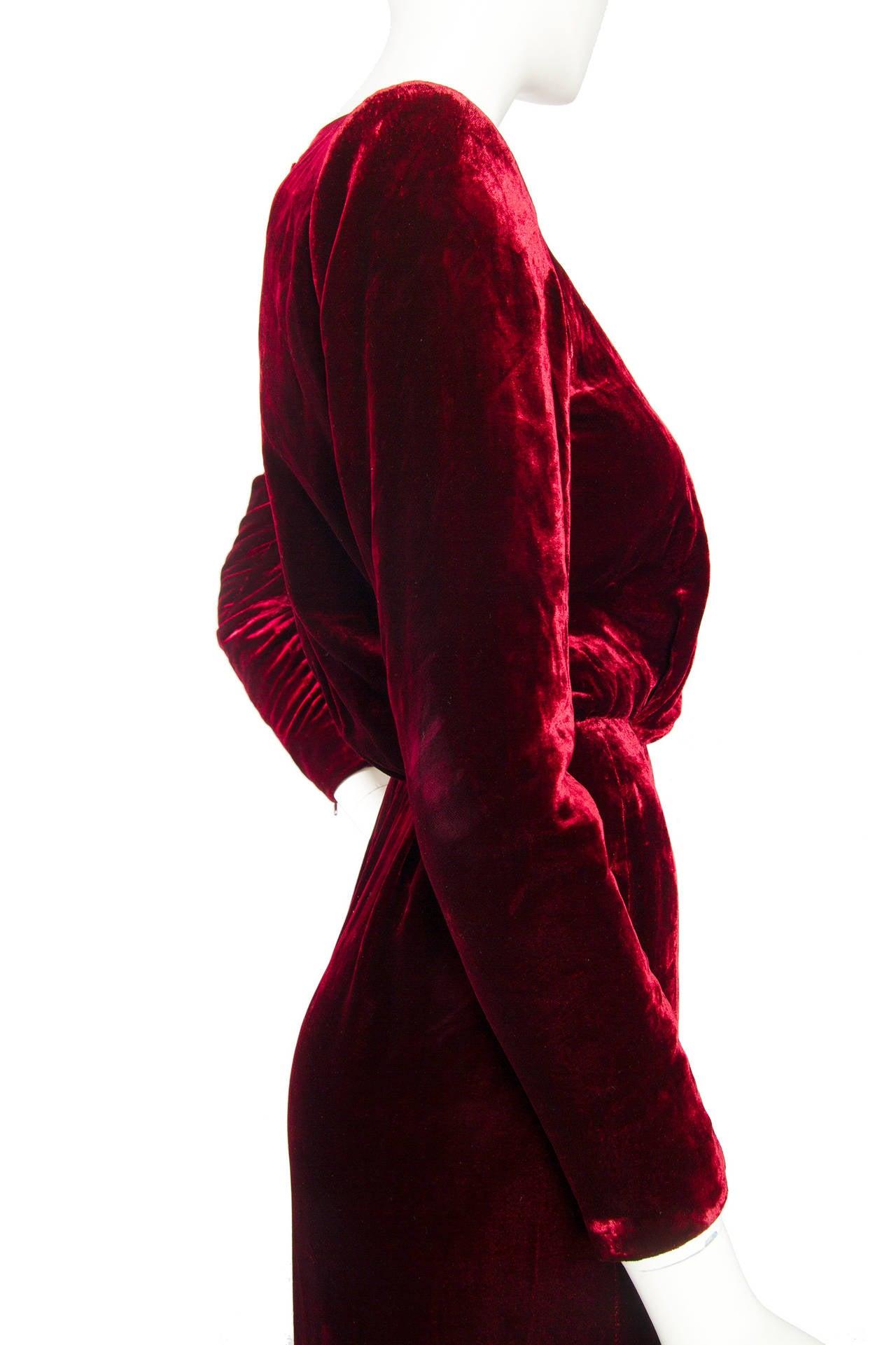 Stunnung Late 1970s Yves Saint Laurent Silk Velvet Haute Couture Dress 6