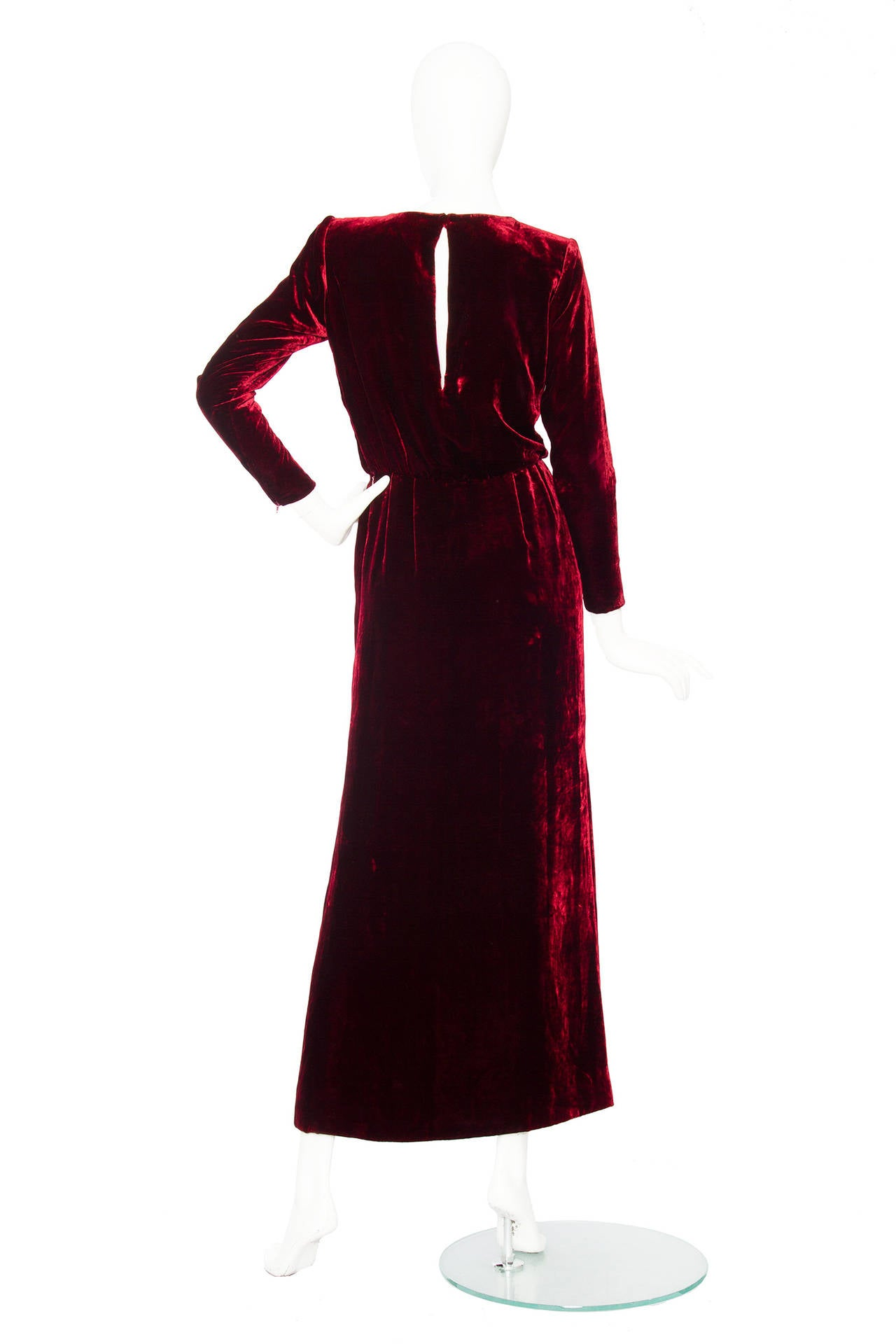 Stunnung Late 1970s Yves Saint Laurent Silk Velvet Haute Couture Dress 4