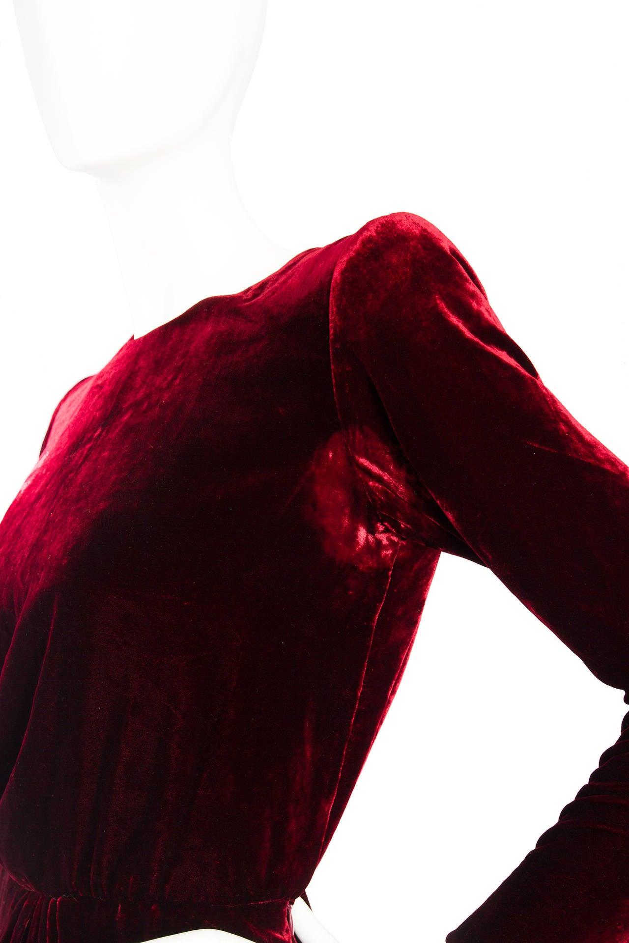 Stunnung Late 1970s Yves Saint Laurent Silk Velvet Haute Couture Dress 8