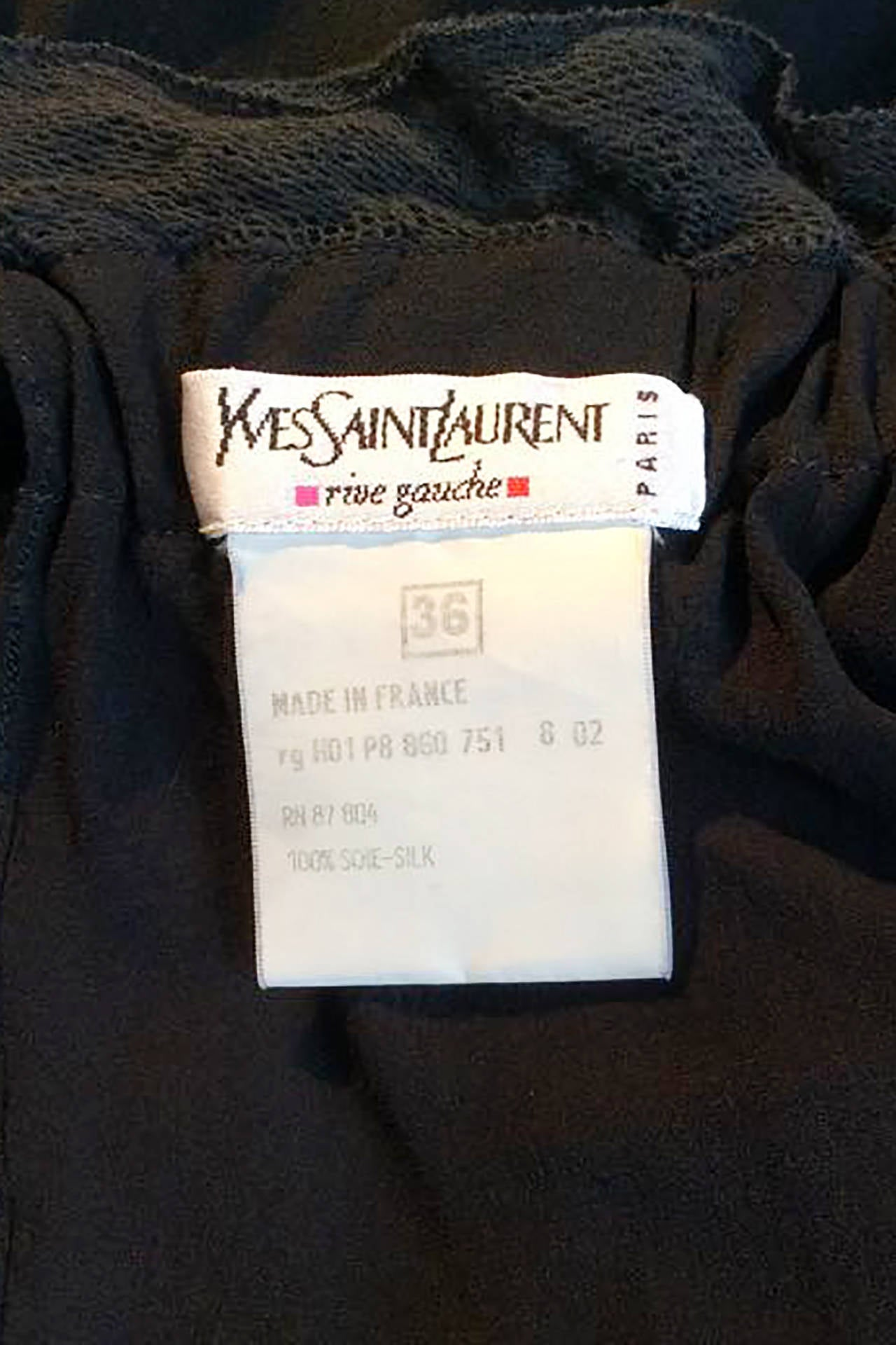 1990s Yves Saint Laurent Tom Ford Black Silk & Lace Blouse For Sale 5