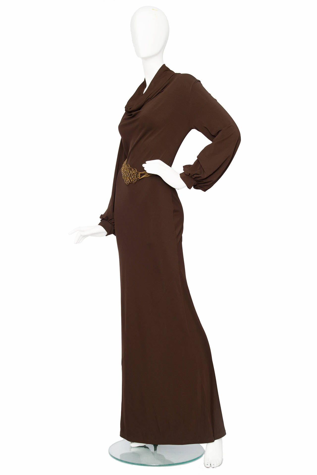 1990s Yves Saint Laurent Brown Jersey Evening Dress 2