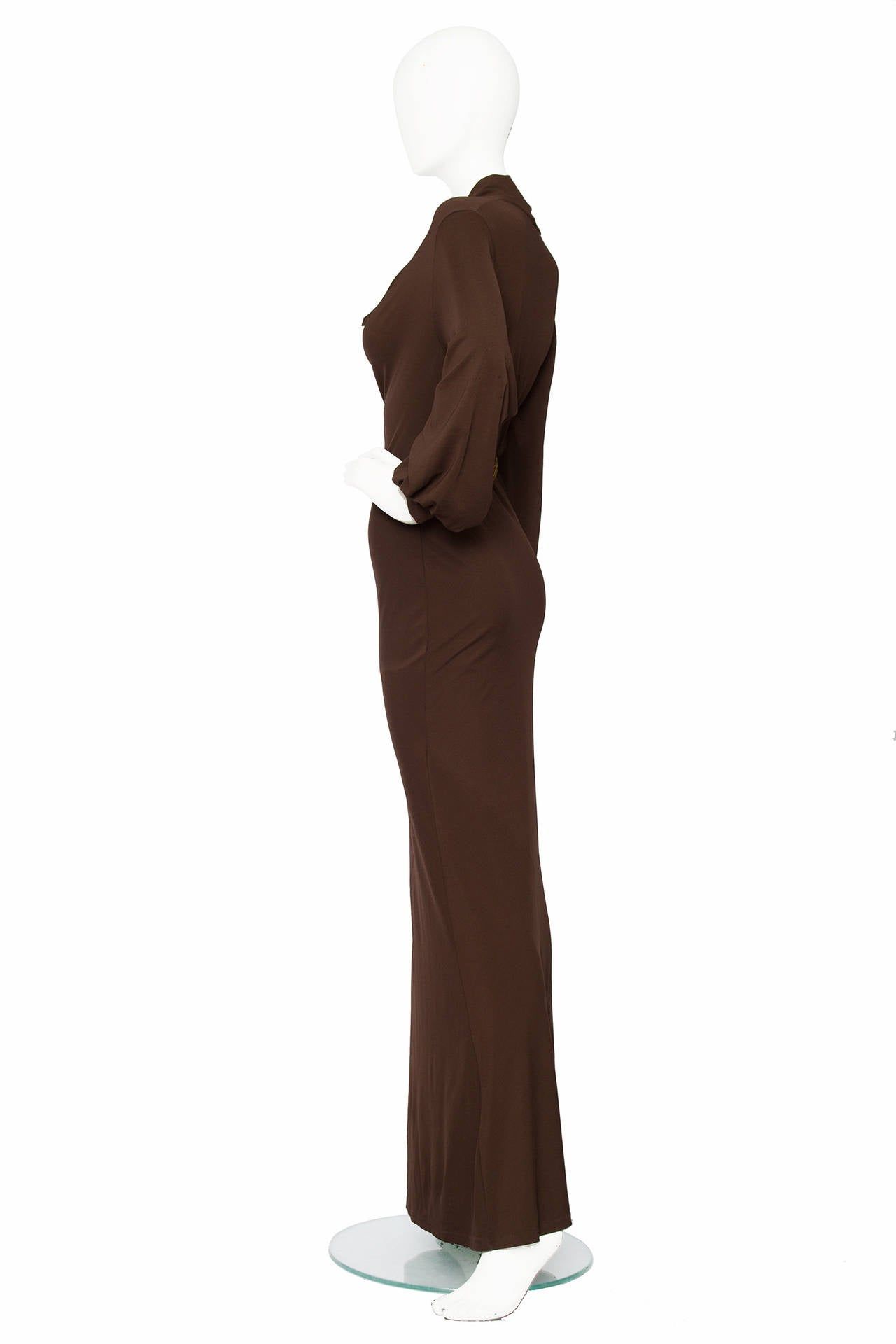 1990s Yves Saint Laurent Brown Jersey Evening Dress 5