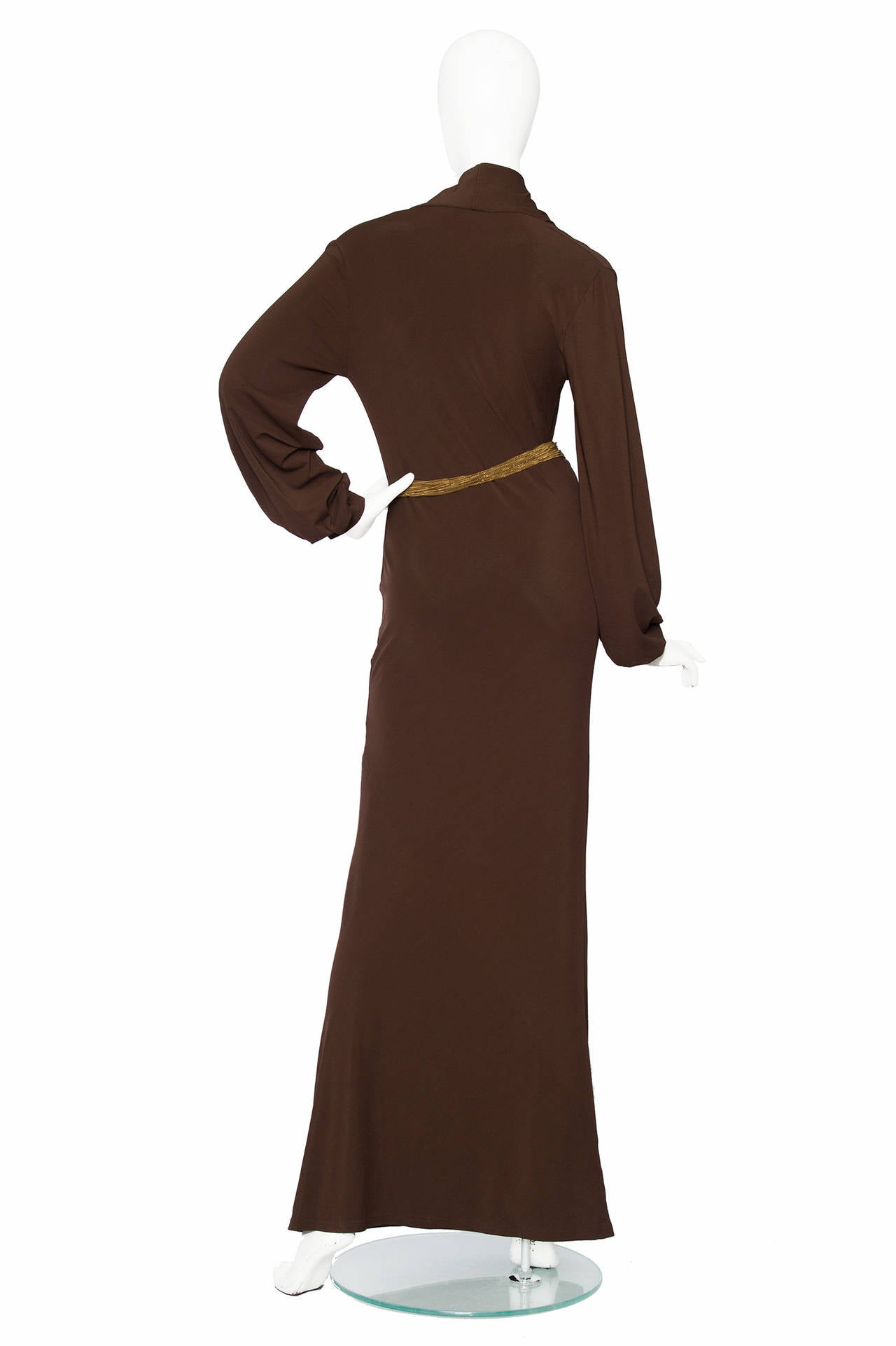 1990s Yves Saint Laurent Brown Jersey Evening Dress 3