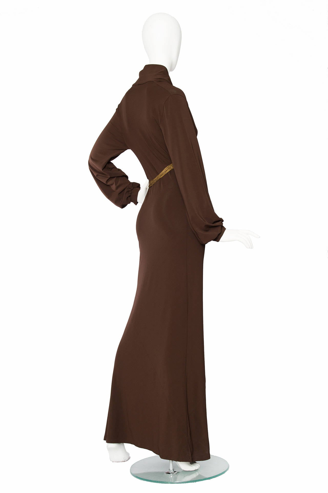 1990s Yves Saint Laurent Brown Jersey Evening Dress 4