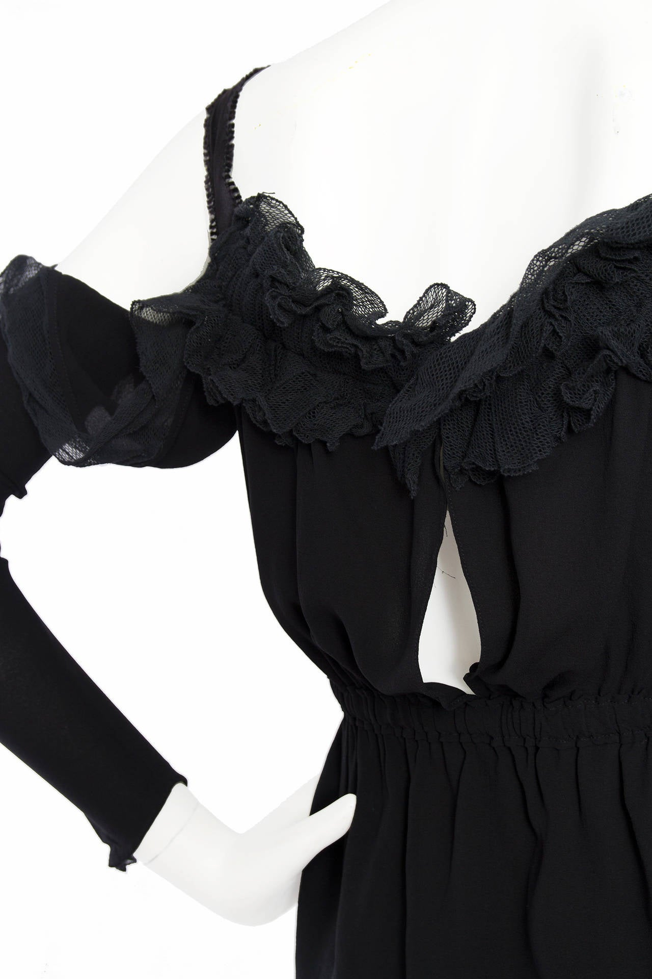 1990s Yves Saint Laurent Tom Ford Black Silk & Lace Blouse For Sale 2