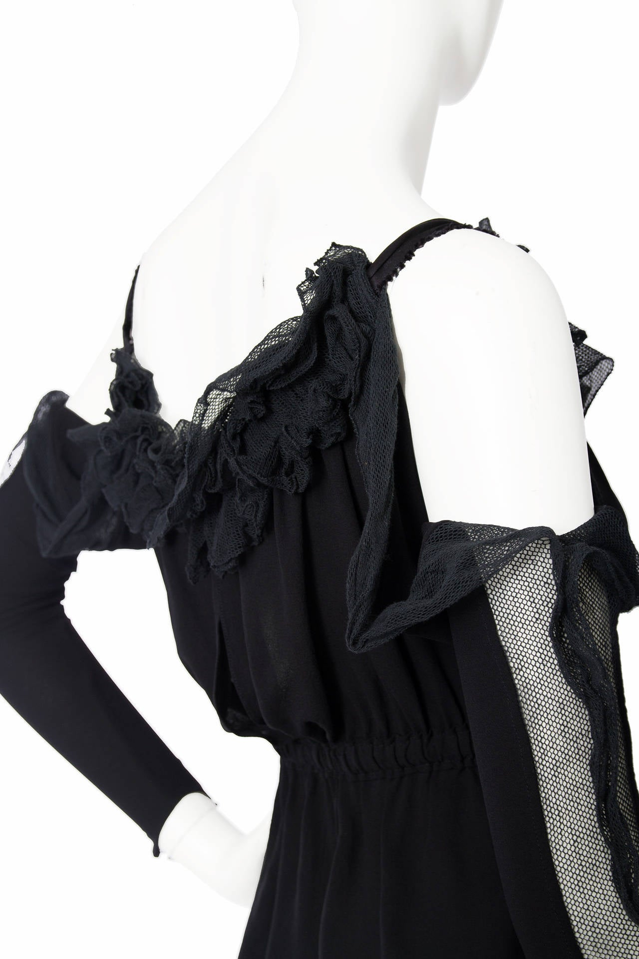 1990s Yves Saint Laurent Tom Ford Black Silk & Lace Blouse For Sale 1