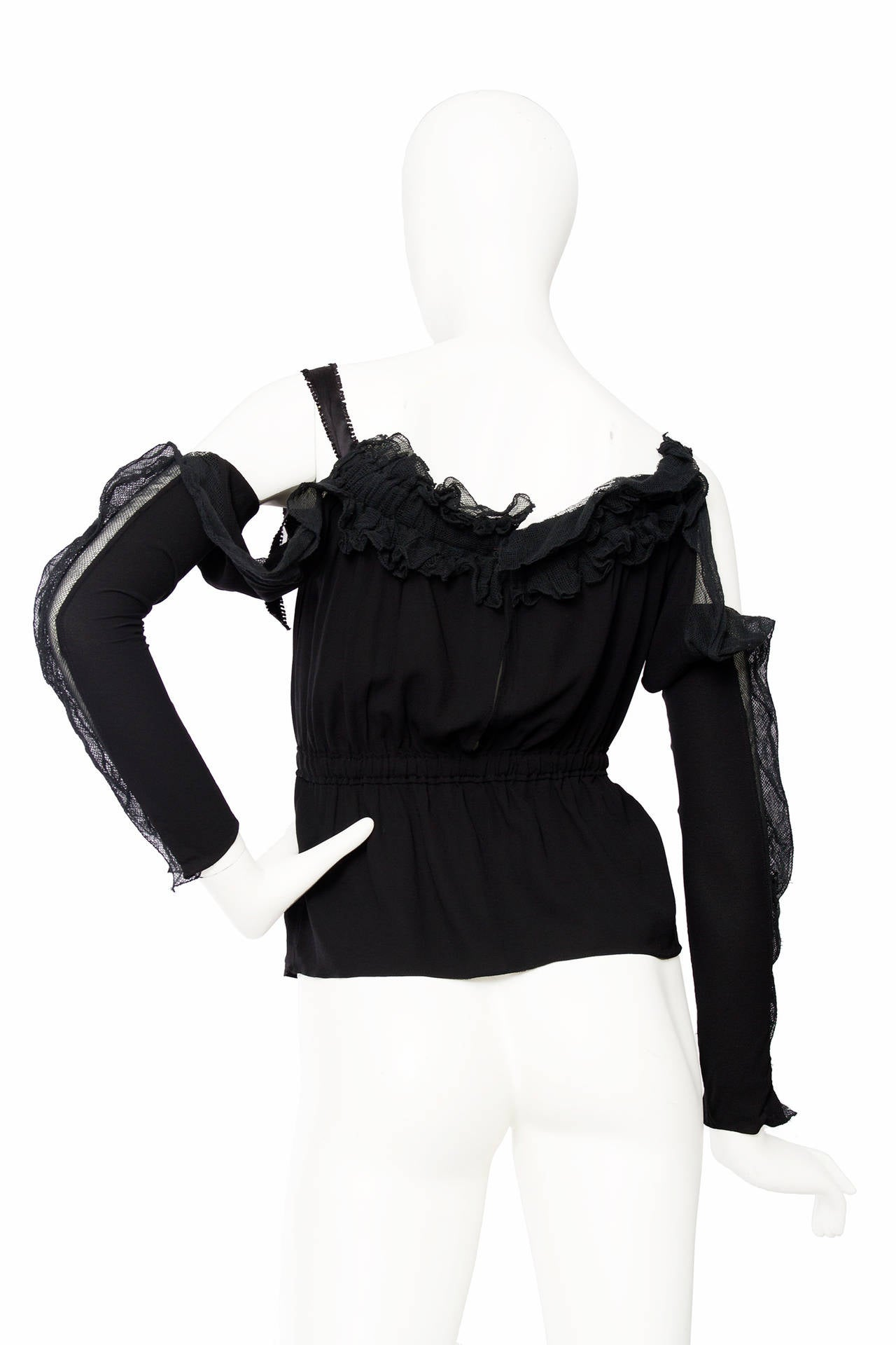 1990s Yves Saint Laurent Tom Ford Black Silk & Lace Blouse In Good Condition For Sale In Copenhagen, DK