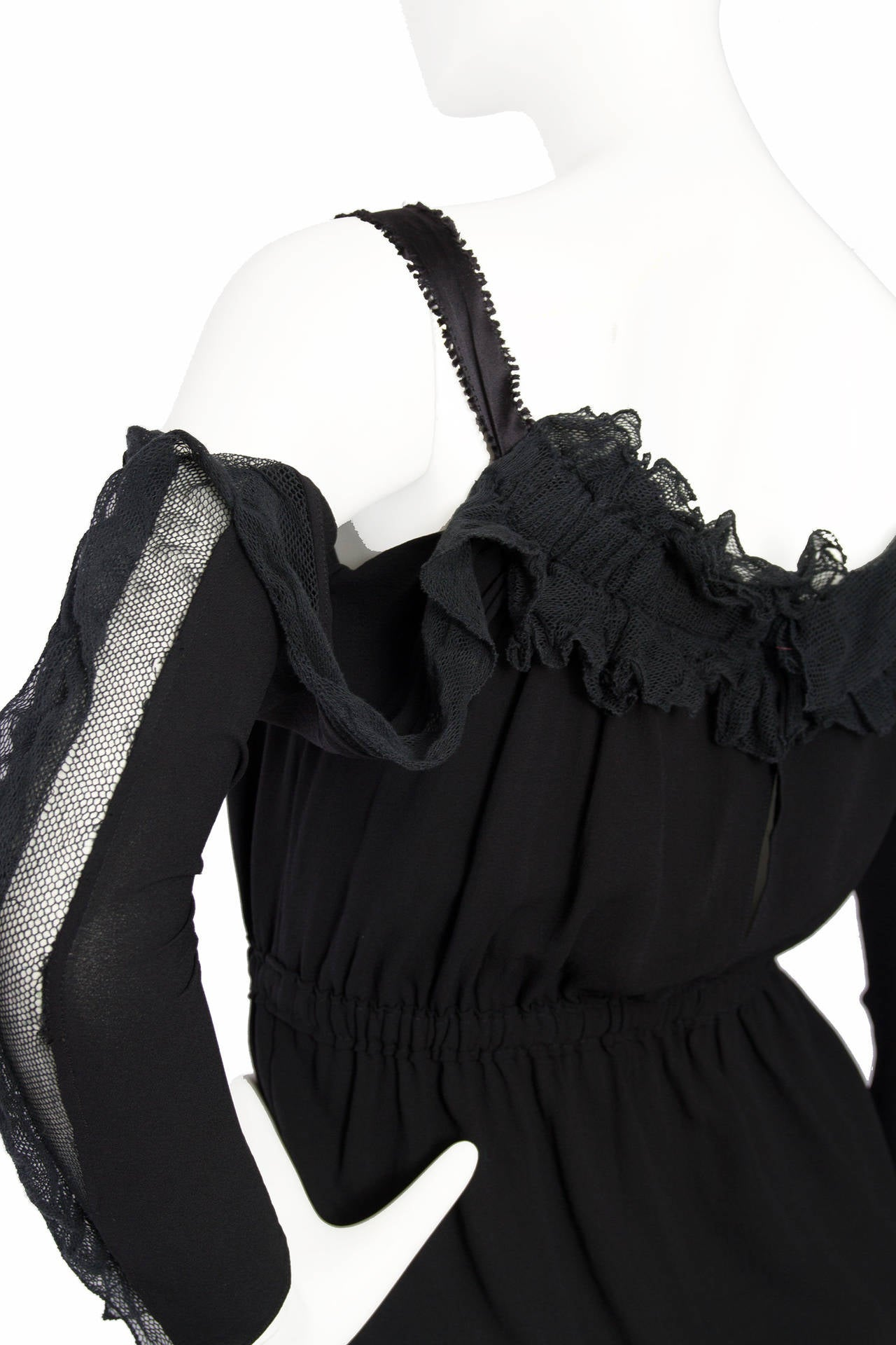 1990s Yves Saint Laurent Tom Ford Black Silk & Lace Blouse For Sale 3