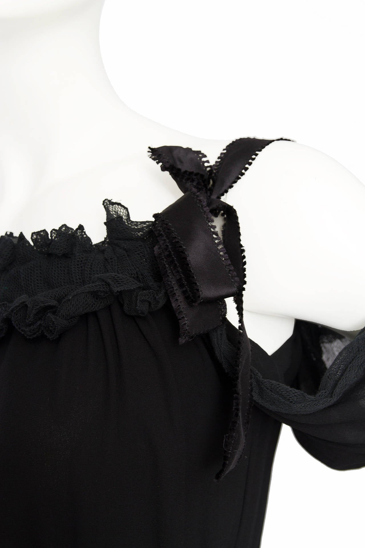 1990s Yves Saint Laurent Tom Ford Black Silk & Lace Blouse For Sale 4