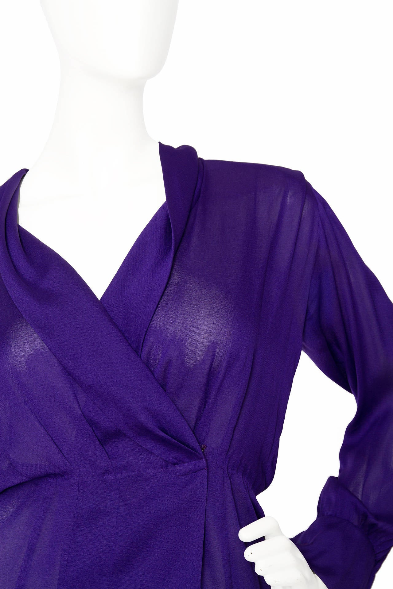1980s Yves Saint Laurent Haute Couture Silk Jersey Blouse 8