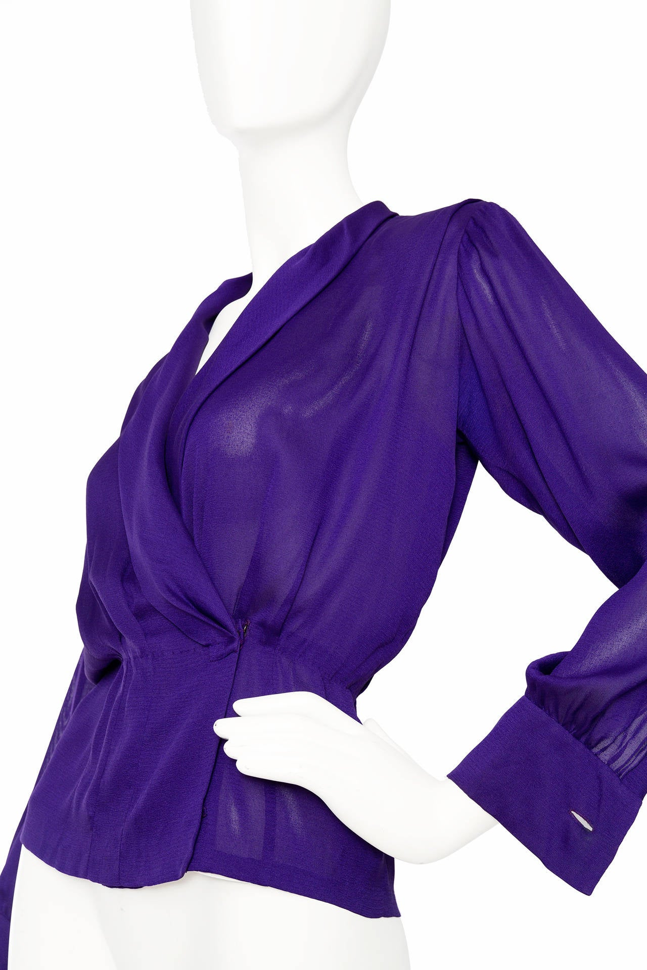 1980s Yves Saint Laurent Haute Couture Silk Jersey Blouse 6